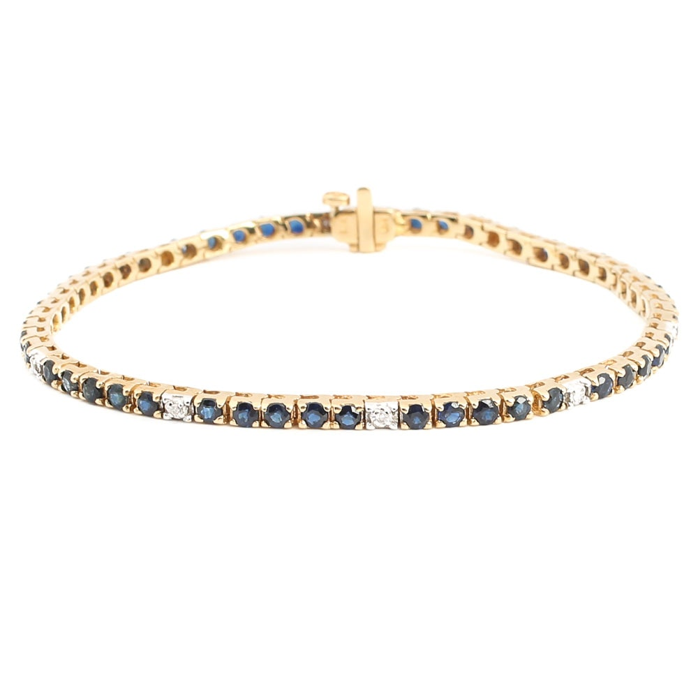 14K Yellow Gold Sapphire and Diamond Tennis Bracelet