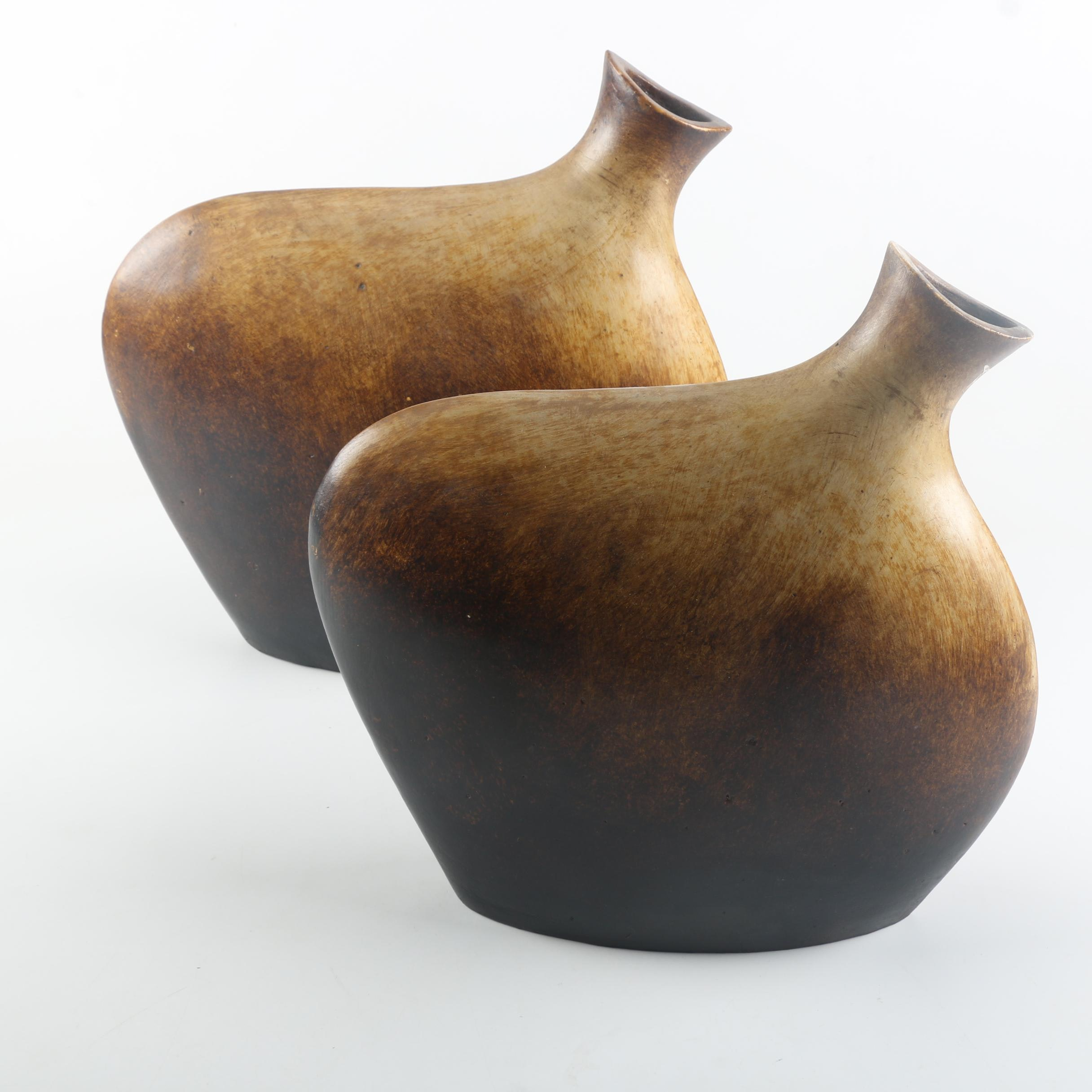 Two Decorative Egg Shaped Vases
