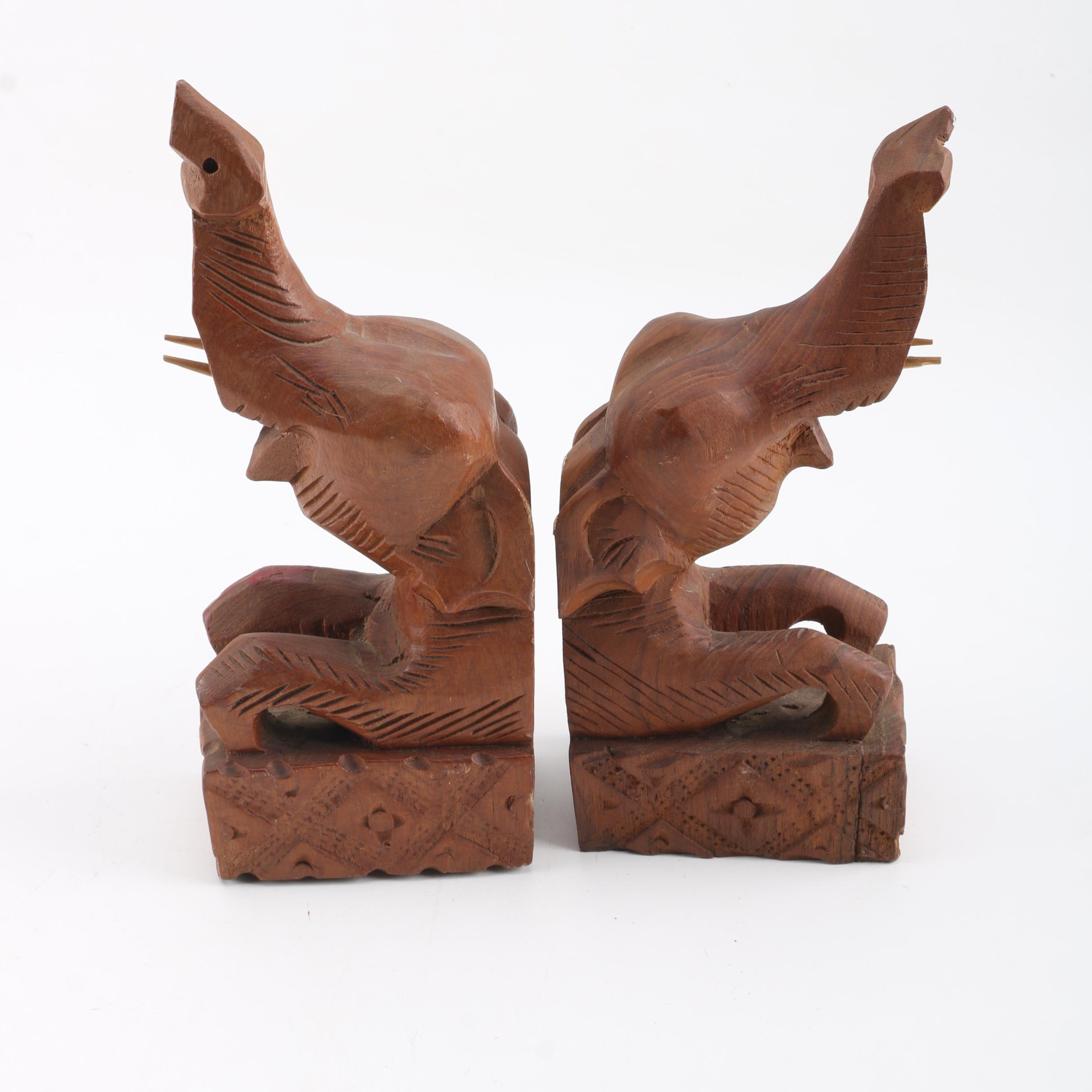 Pair Of Norleans Carved Wood Elephant Bookends