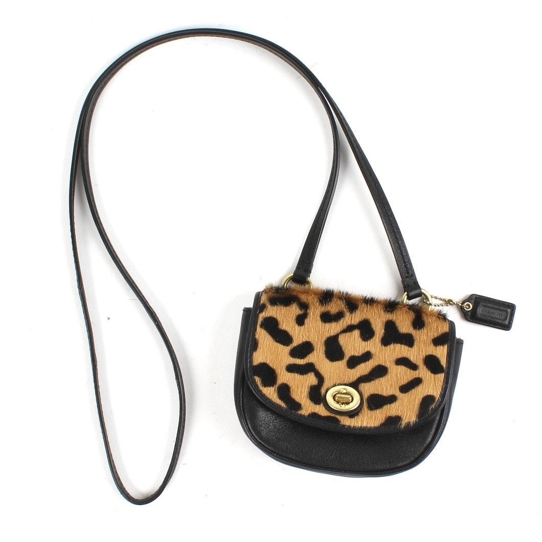 Coach Leopard Print Calf Hair Mini Crossbody Bag