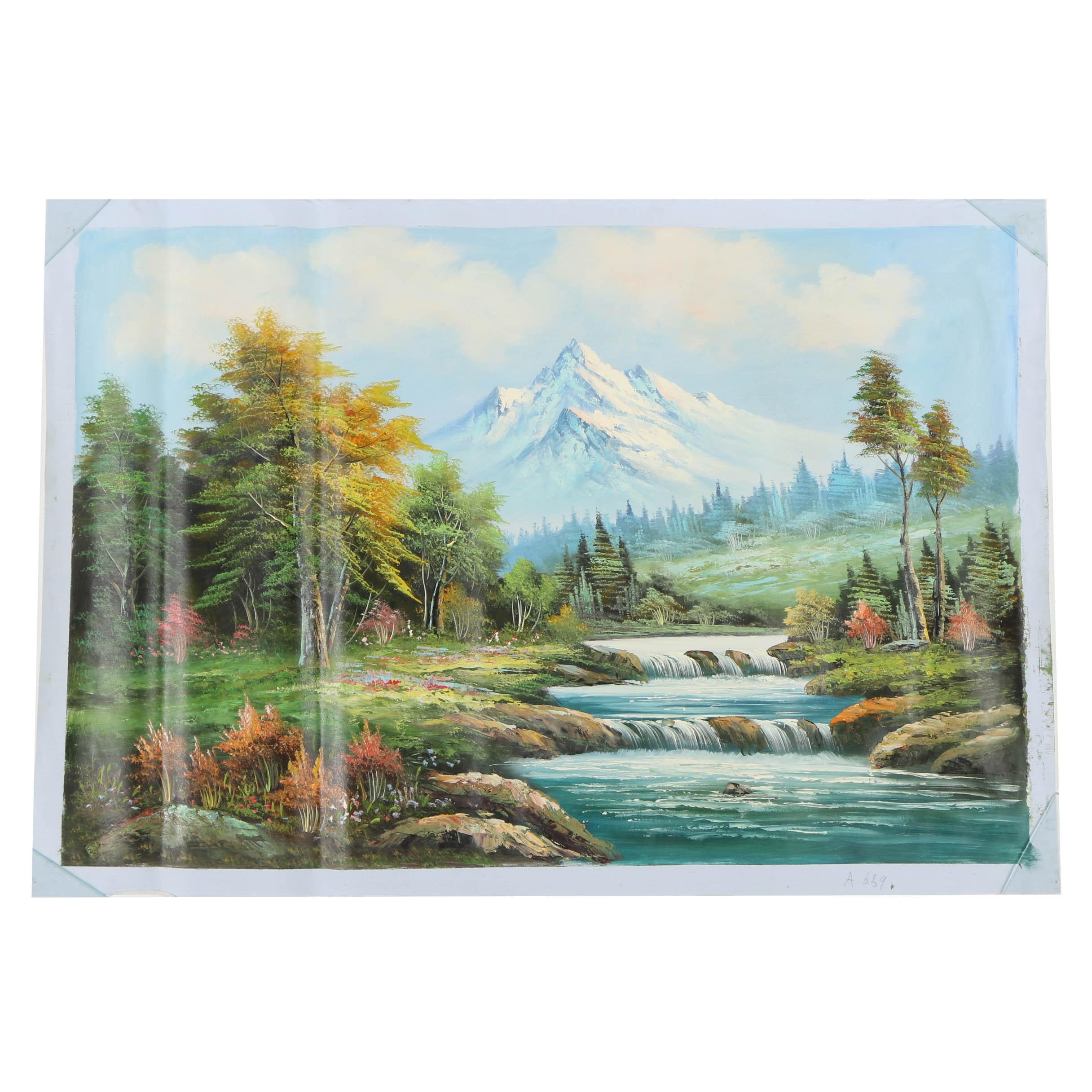 Oil Painting of a Mountainous Landscape
