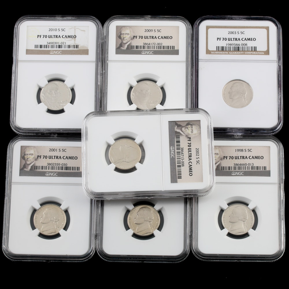 Seven NGC PF 70 Ultra Cameo Jefferson Nickels