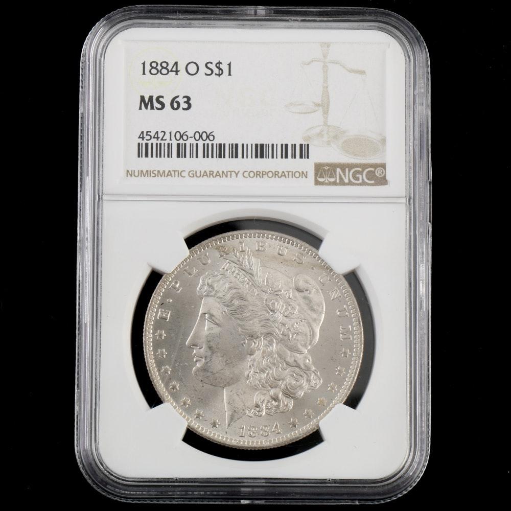 NGC graded MS 63 1884 O Morgan Silver Dollar