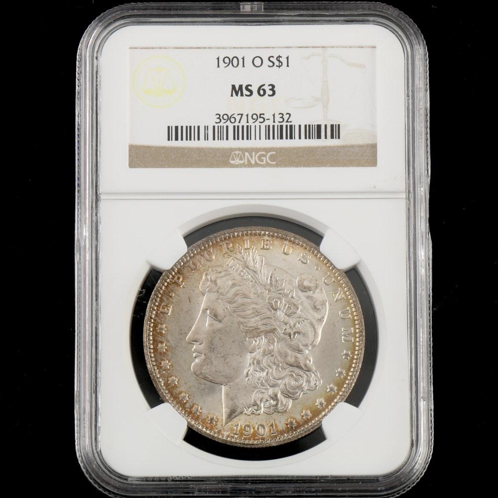 NGC Graded MS 63 1901 O Morgan Silver Dollar