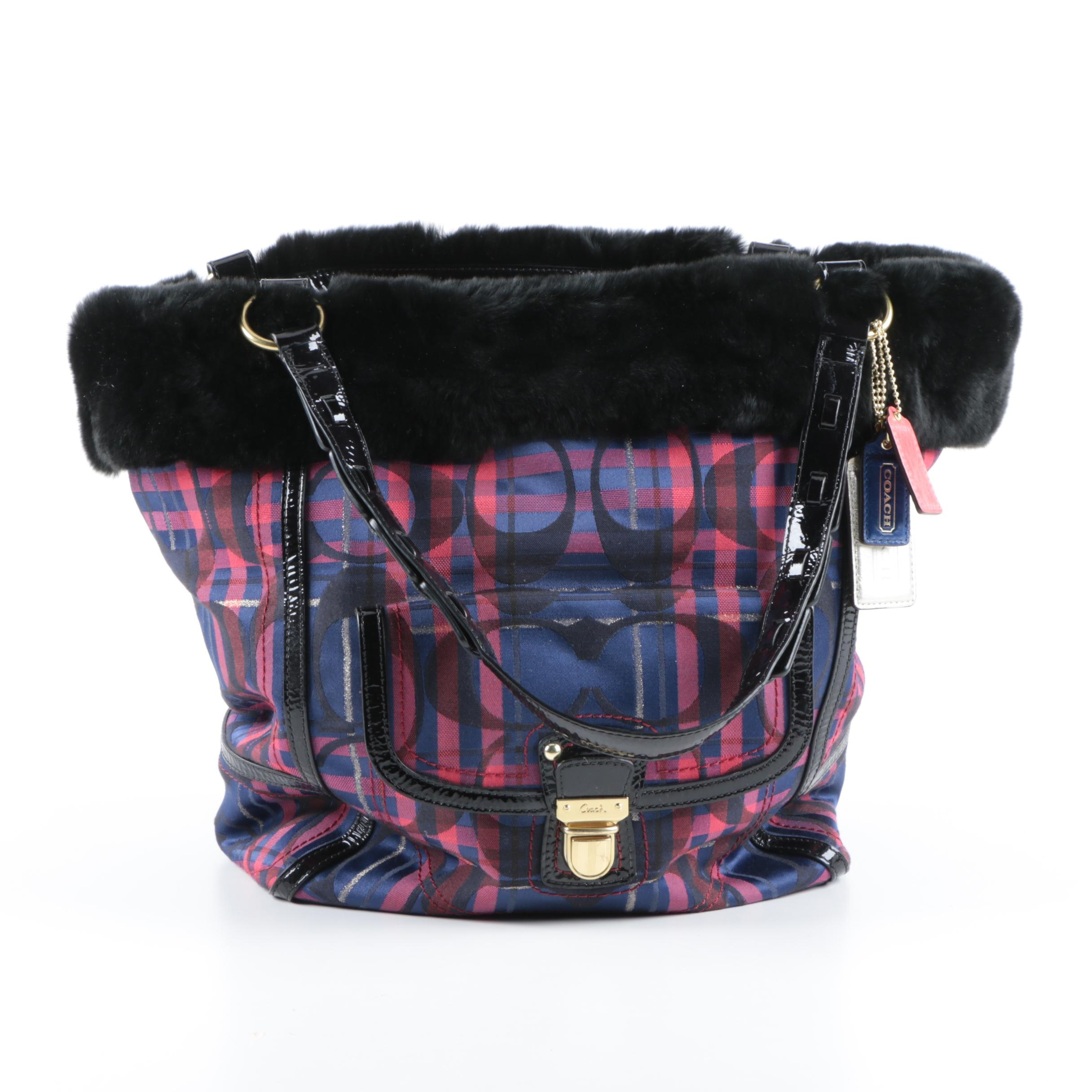 Coach Poppy Tartan Heritage Tote with Sheared Fur Trim