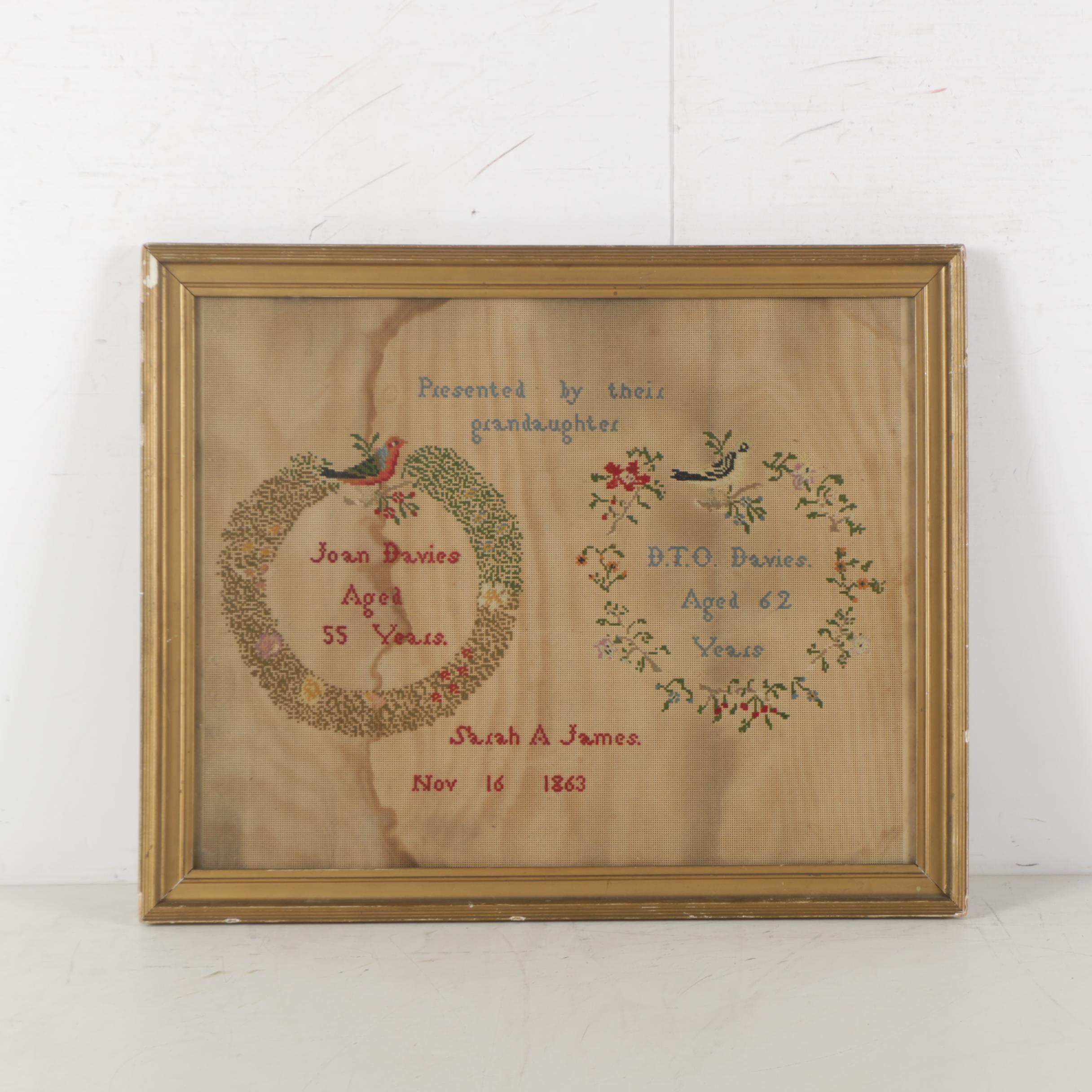 Sarah A. James Antique Needlepoint Sampler