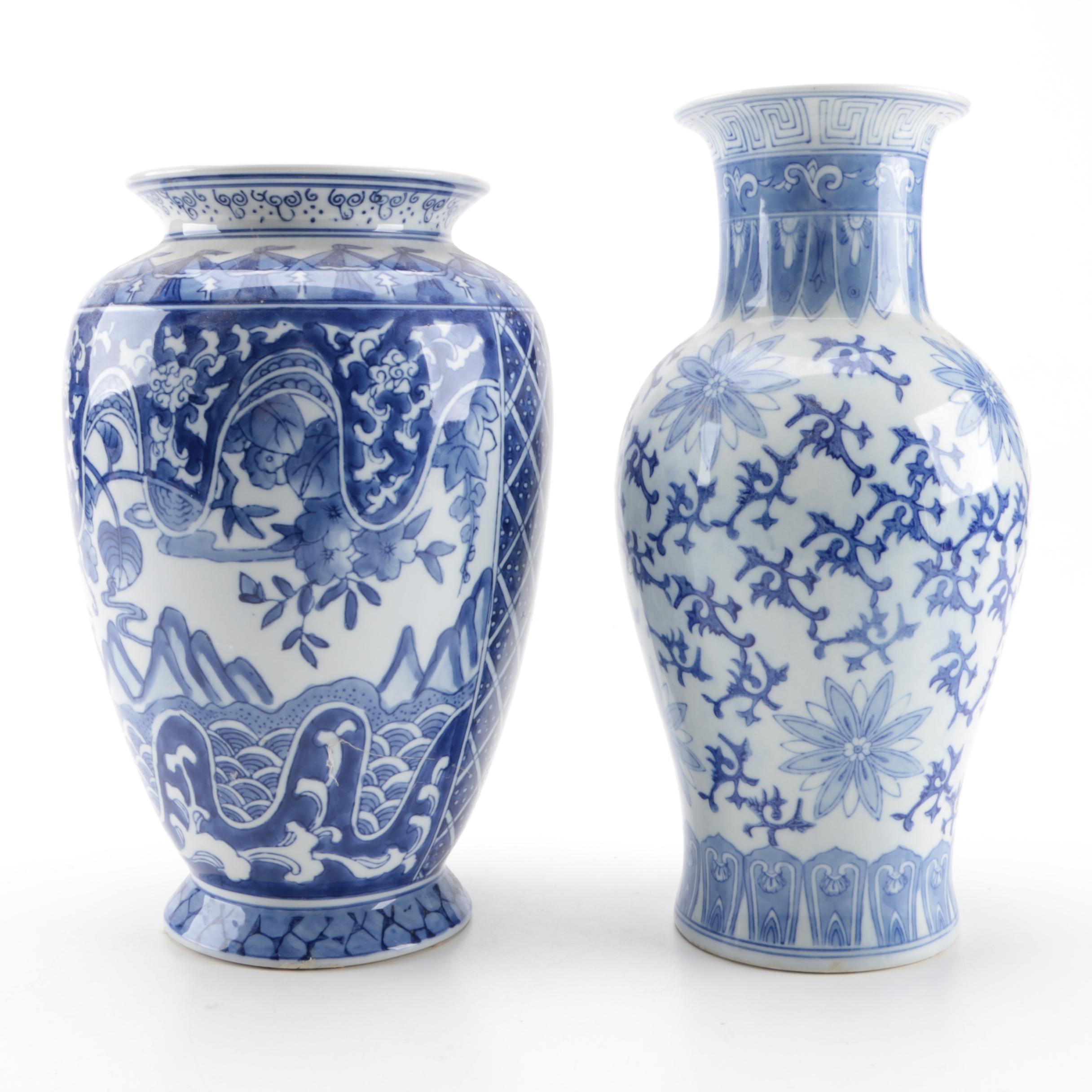 East Asian Blue and White Porcelain Vases
