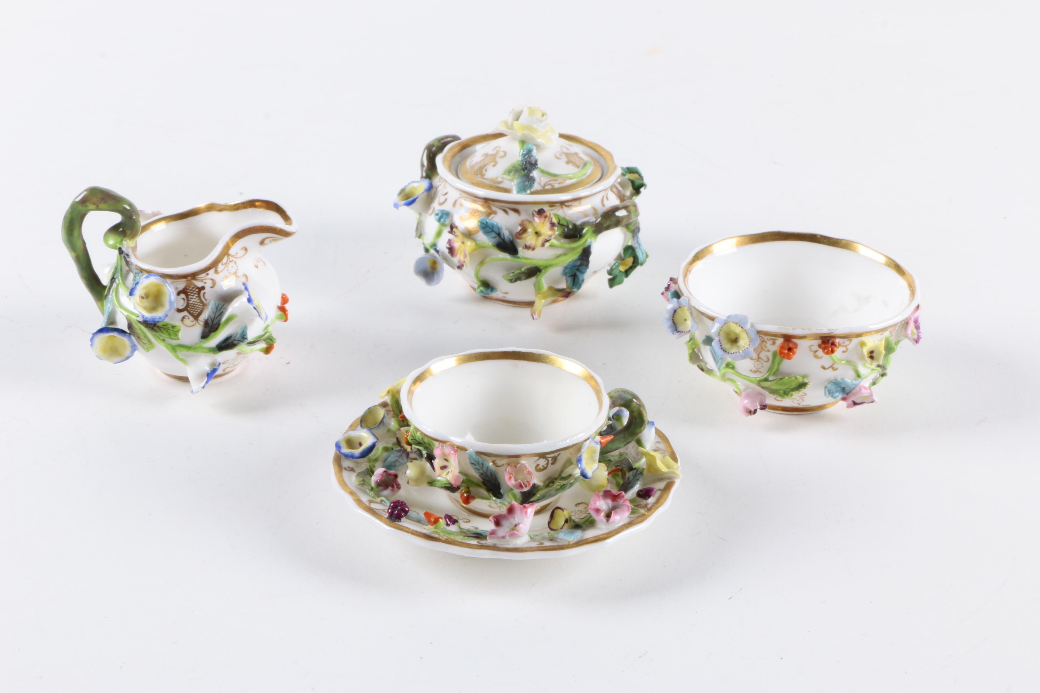 1830 Spode Miniature Porcelain Tea Set