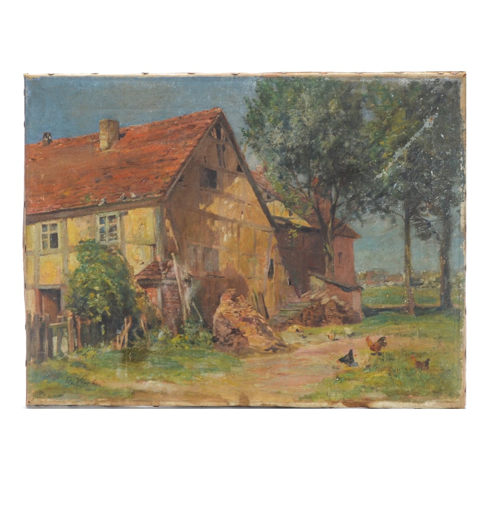 Original Oil Painting on canvas of a Farmyard