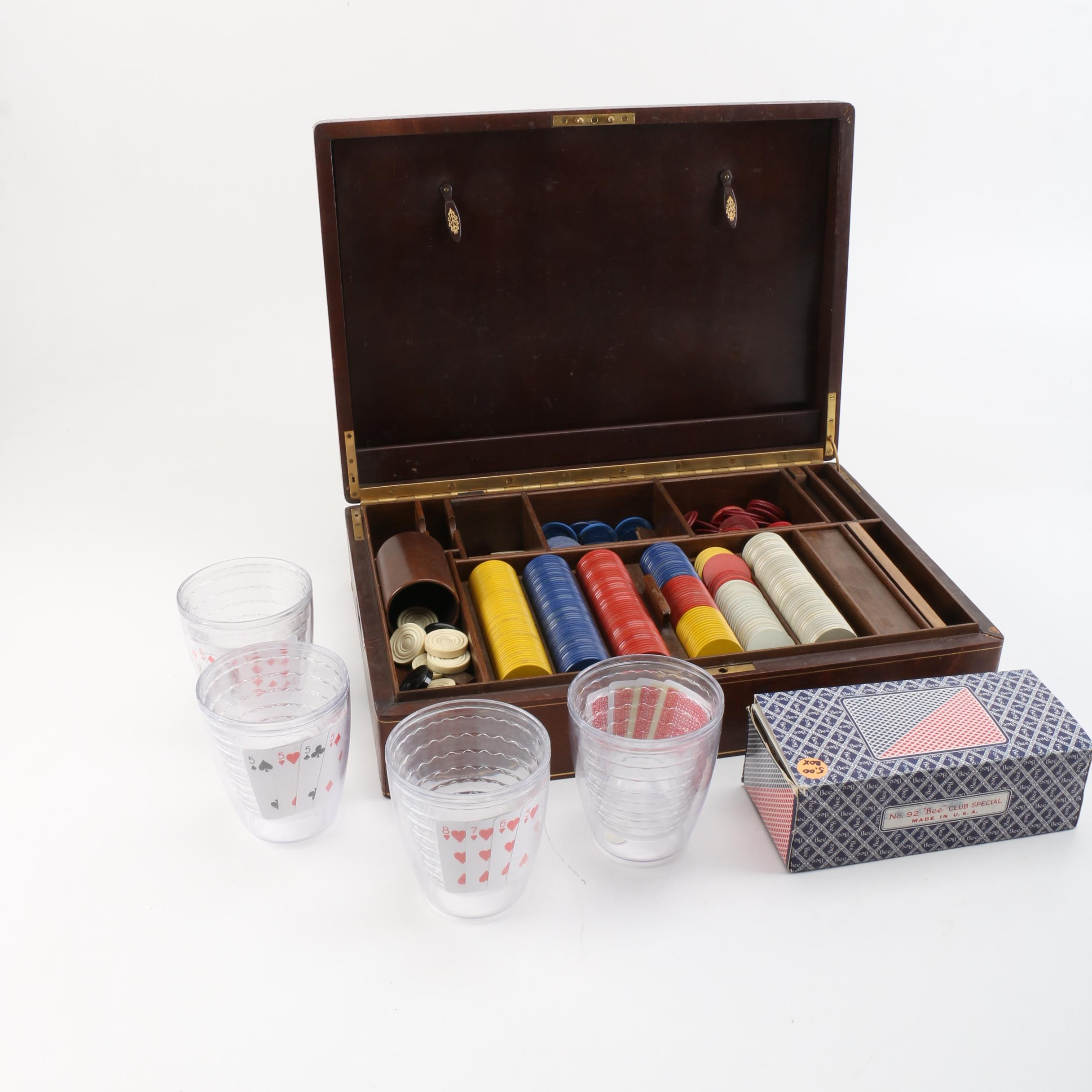 Vintage Playing Cards with Poker Chips and Cups