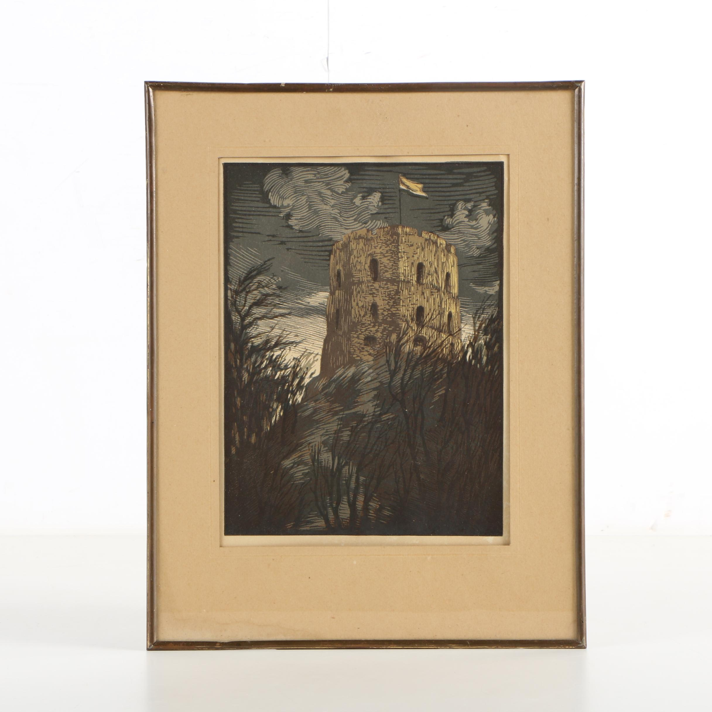 Multiple Block Relief Print of Fortified Tower