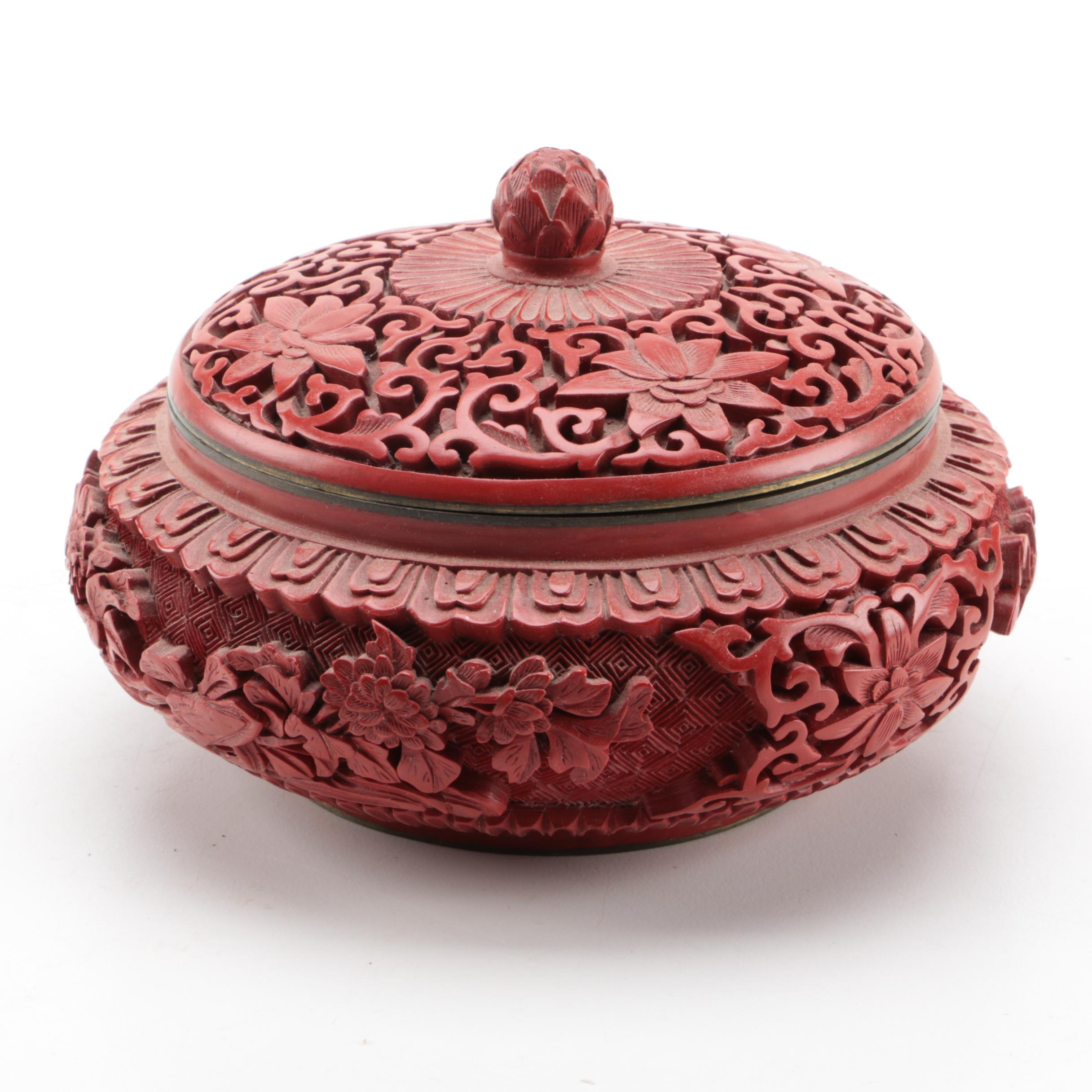 Chinese Faux Cinnabar Jar