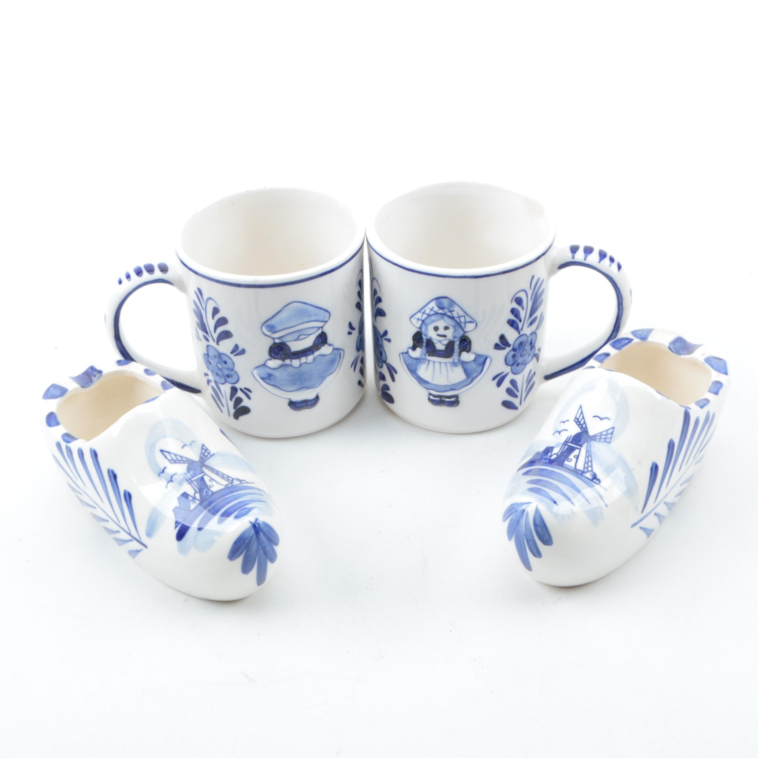 Vintage Delft Style Mugs and Ash Receiver Shoes