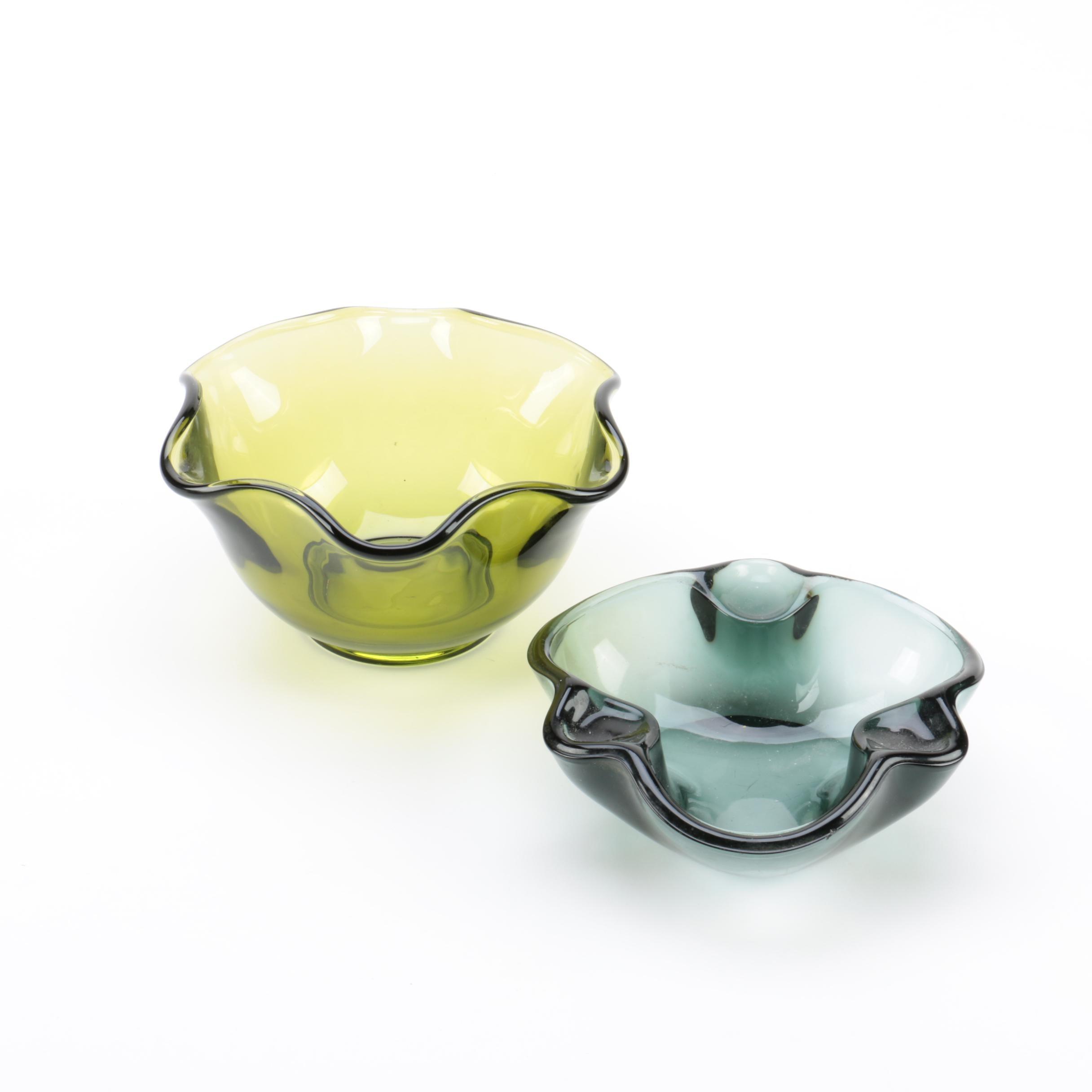 Crimped Edge Art Glass Bowls