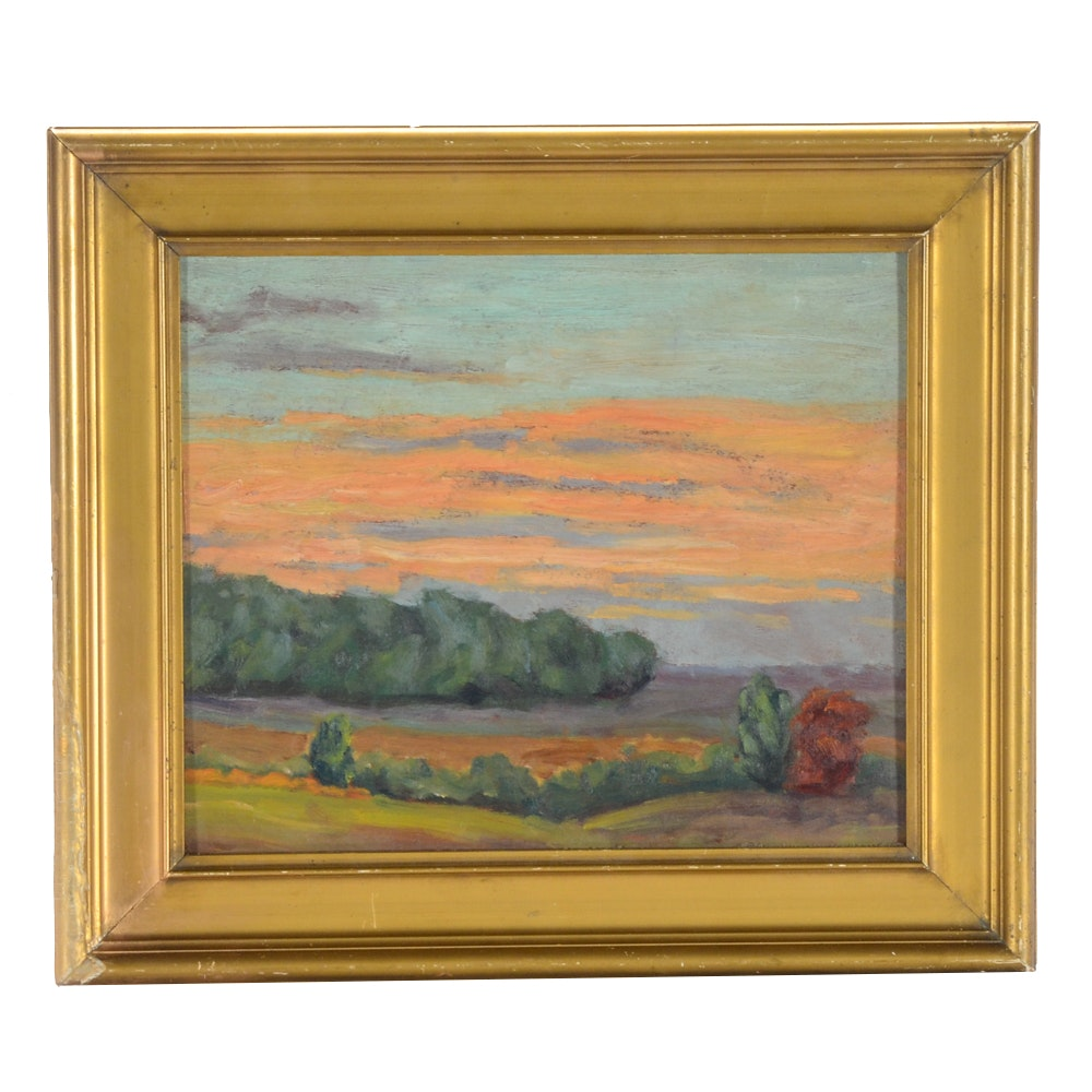 "Lily Osman Adams Oil Painting ""Sunset"""