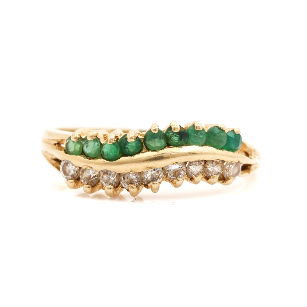 14K Yellow Gold Cubic Zirconia and Green Chalcedony Ring