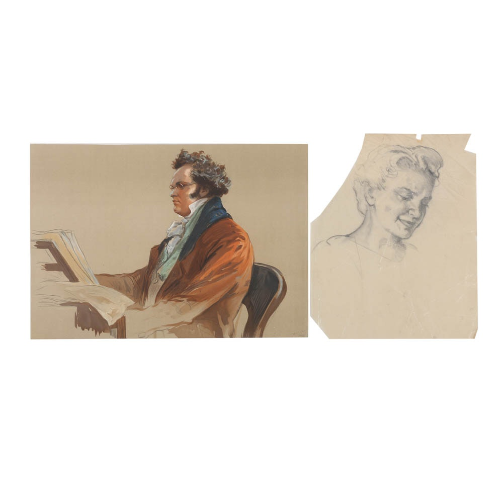 Lithograph and Graphite Drawing of Portraits