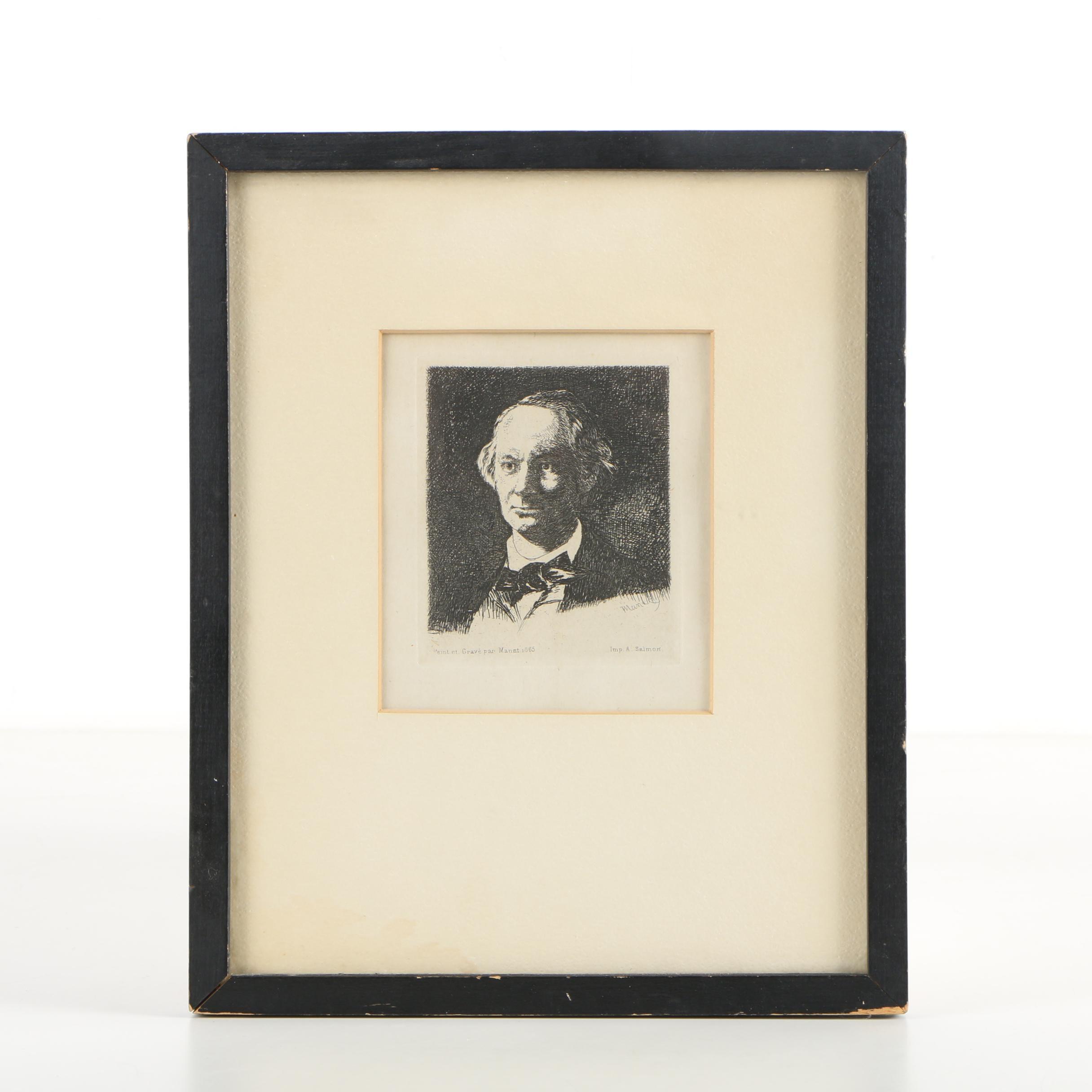 "Restrike Etching After Édouard Manet ""Charles Baudelaire, de Face"""""