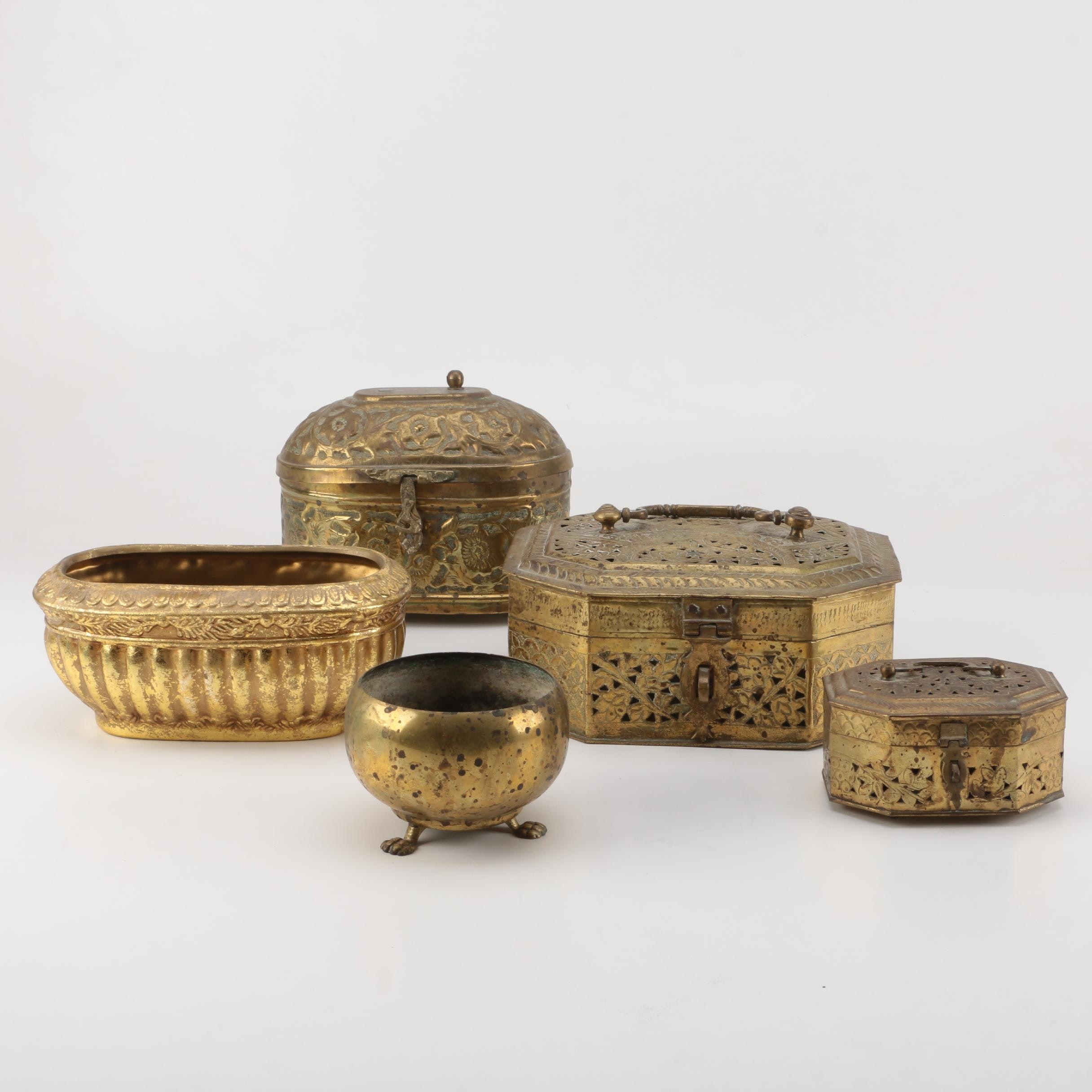 Brass Open Work Decorative Boxes and Assorted Decor