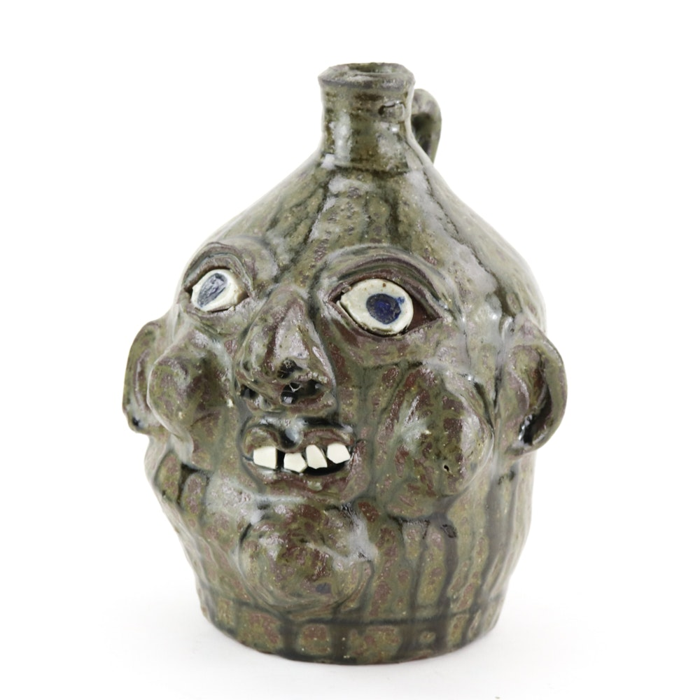 Signed Grace Nell Hewell Ceramic Face Jug