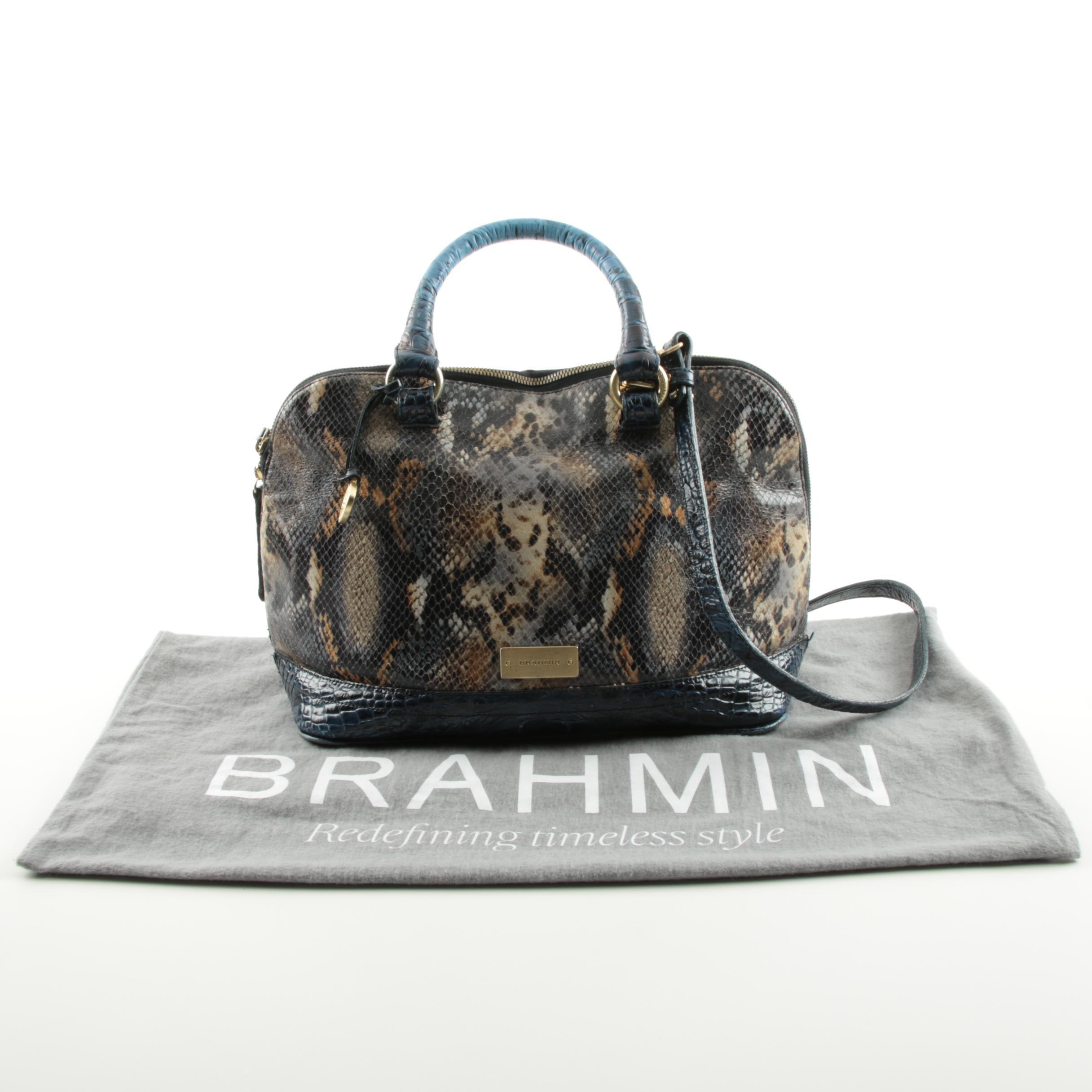 Brahmin Snakeskin Embossed Leather Handbag