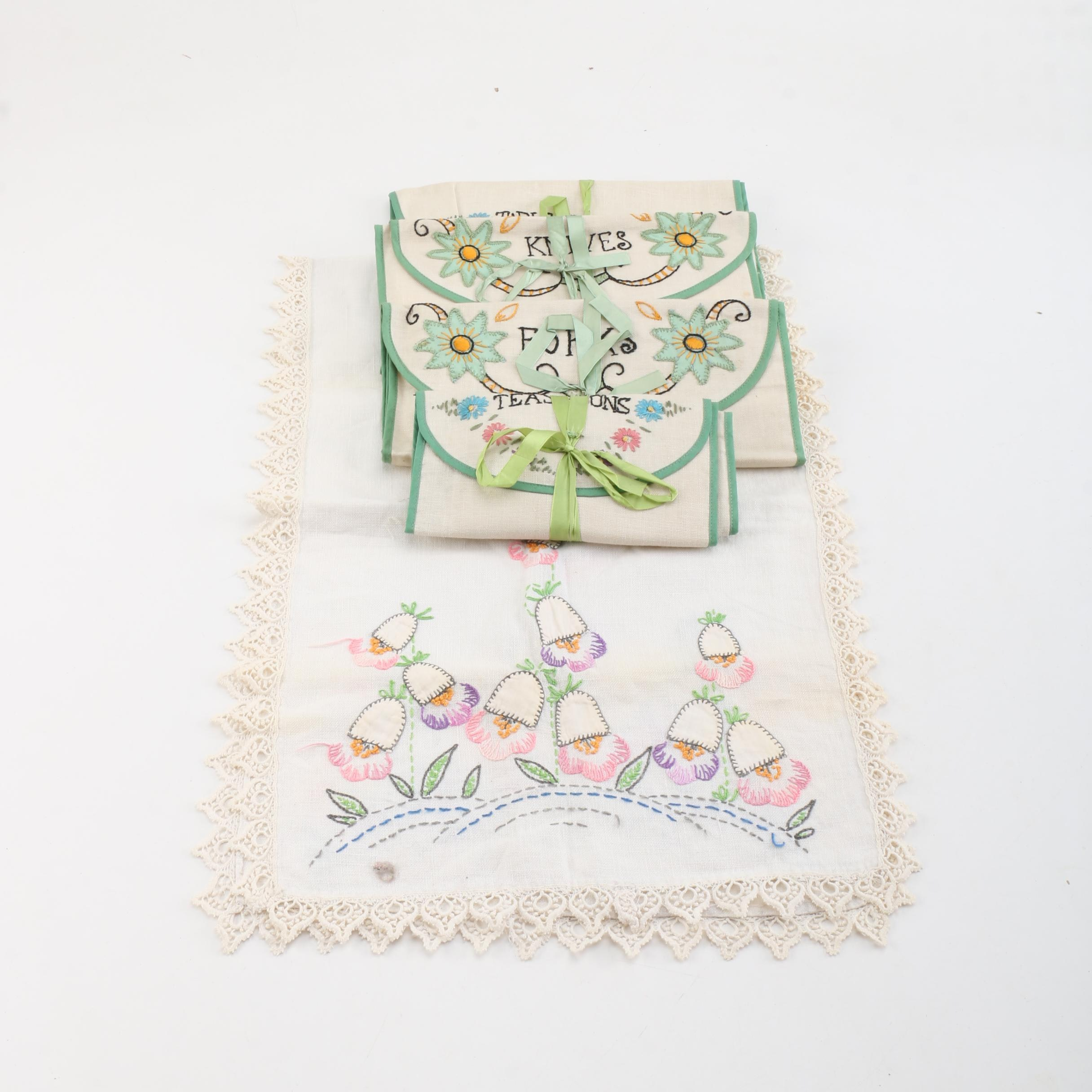 Vintage Embroidered Flatware Bags and Table Runner