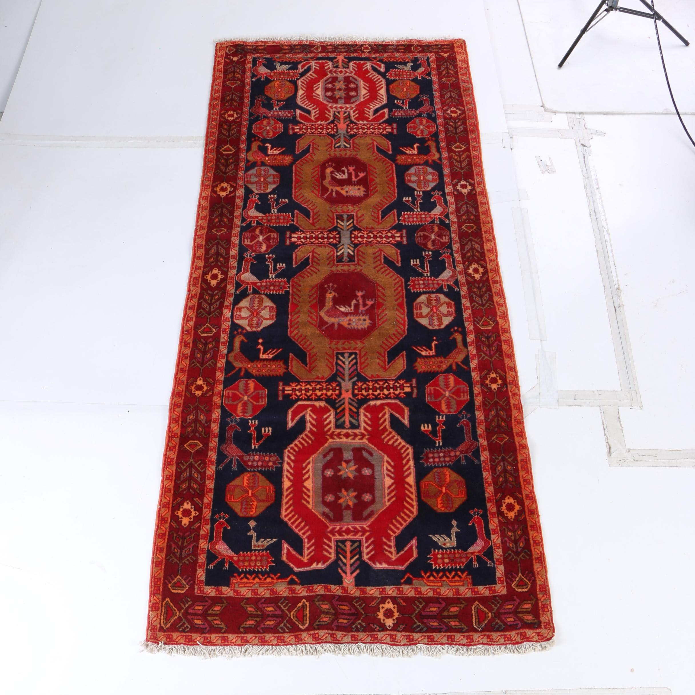 Hand-Knotted Persian Lenkoran Wool Carpet Runner