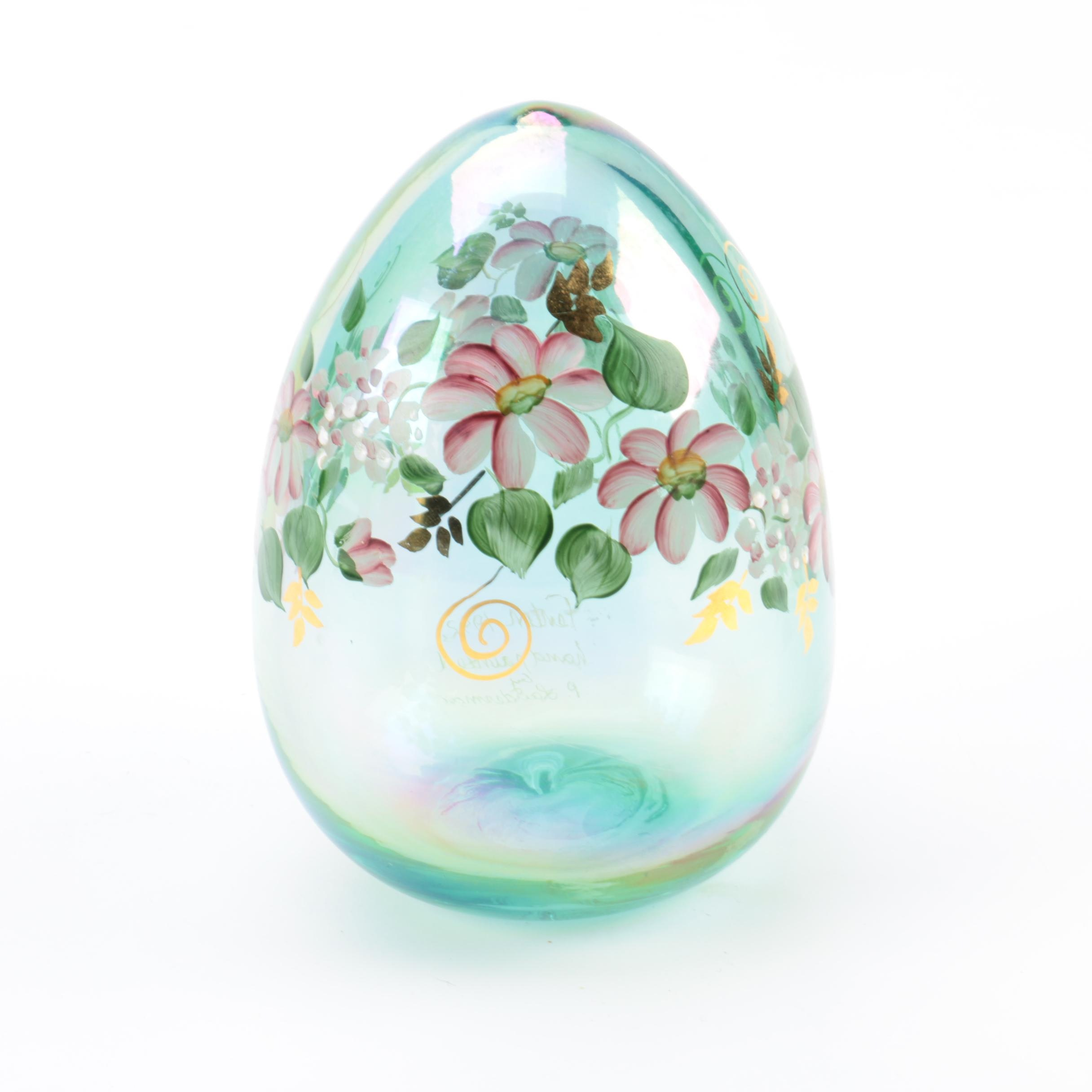 Fenton Hand Blown and Painted Glass Egg