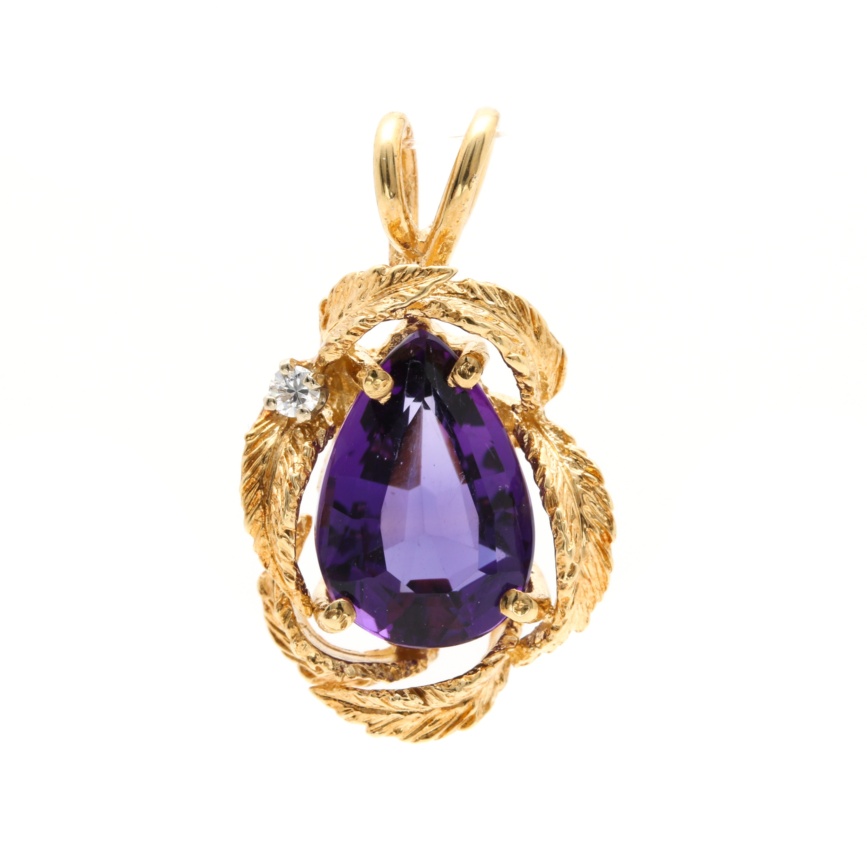 14K Yellow Gold Amethyst Pendant With Diamond Accent