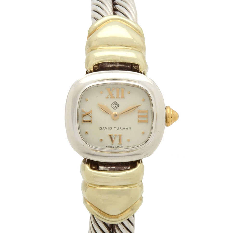 David Yurman Sterling Silver and 14K Gold Double Cable Wristwatch