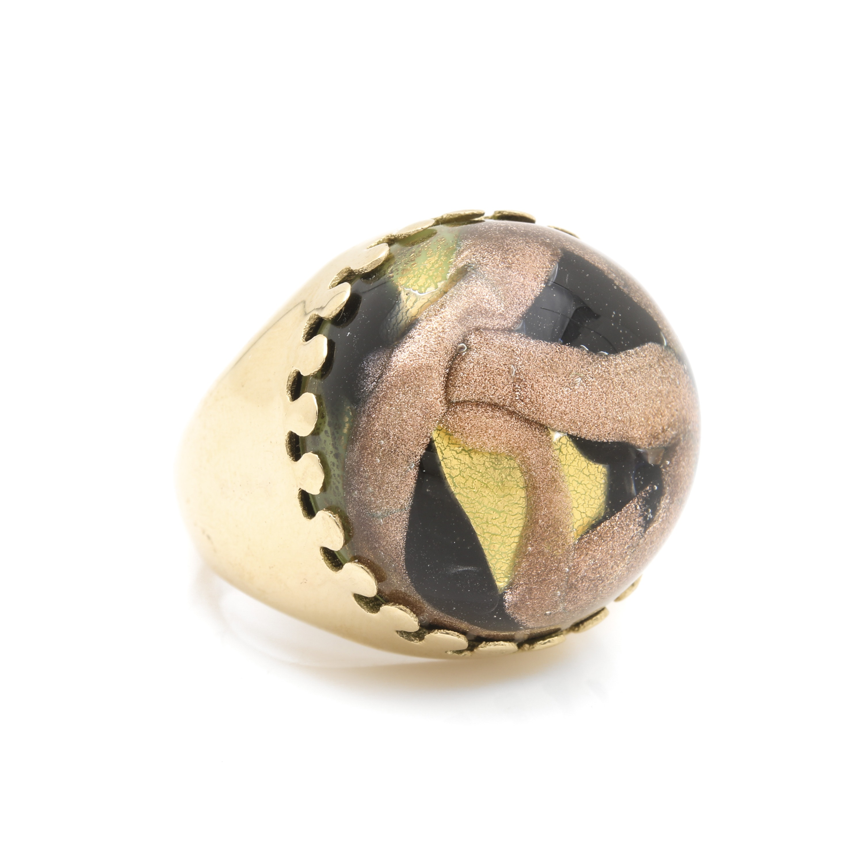 Milor 14K Yellow Gold Glass and Resin Ring