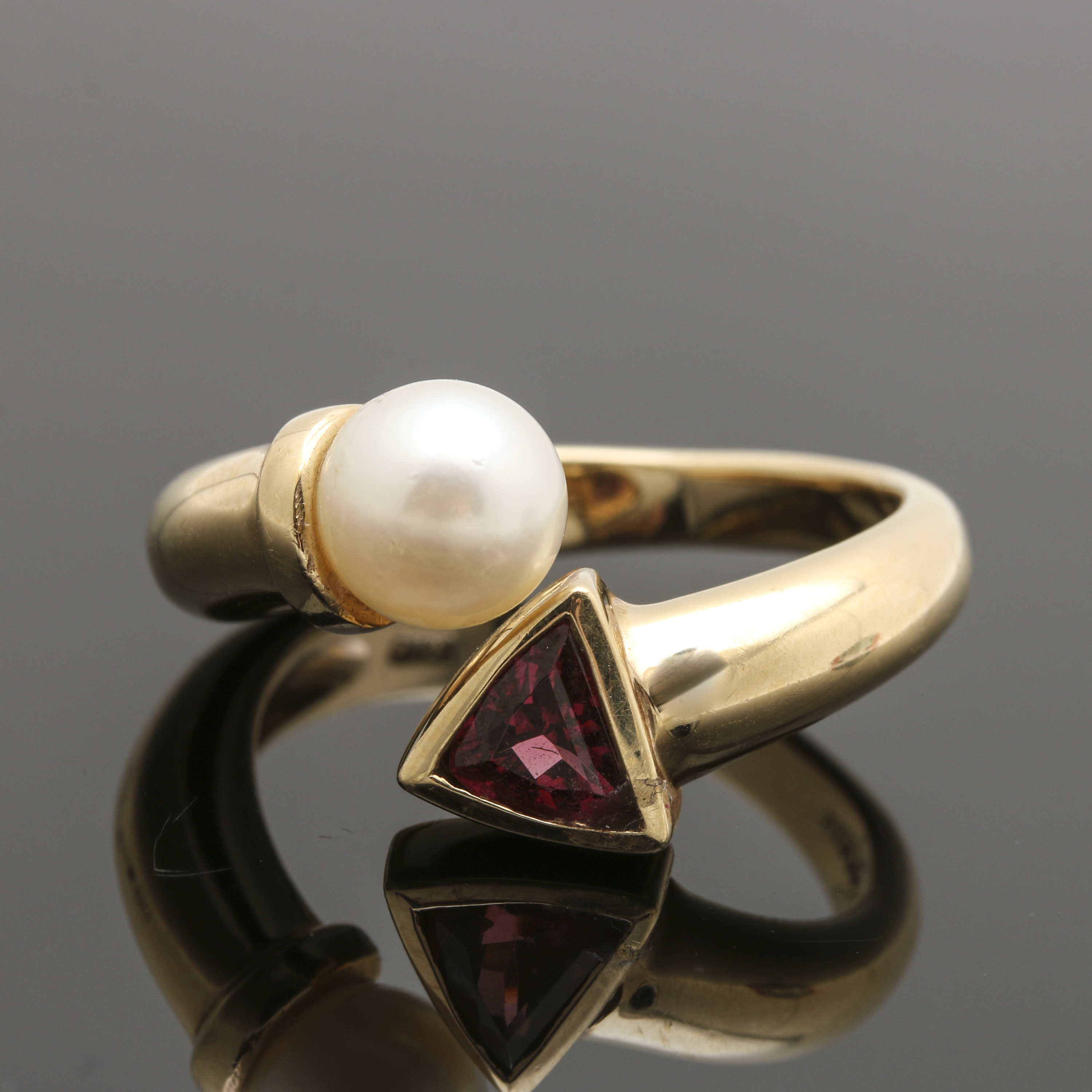 14K Yellow Gold Cultured Pearl and Garnet Bypass Ring