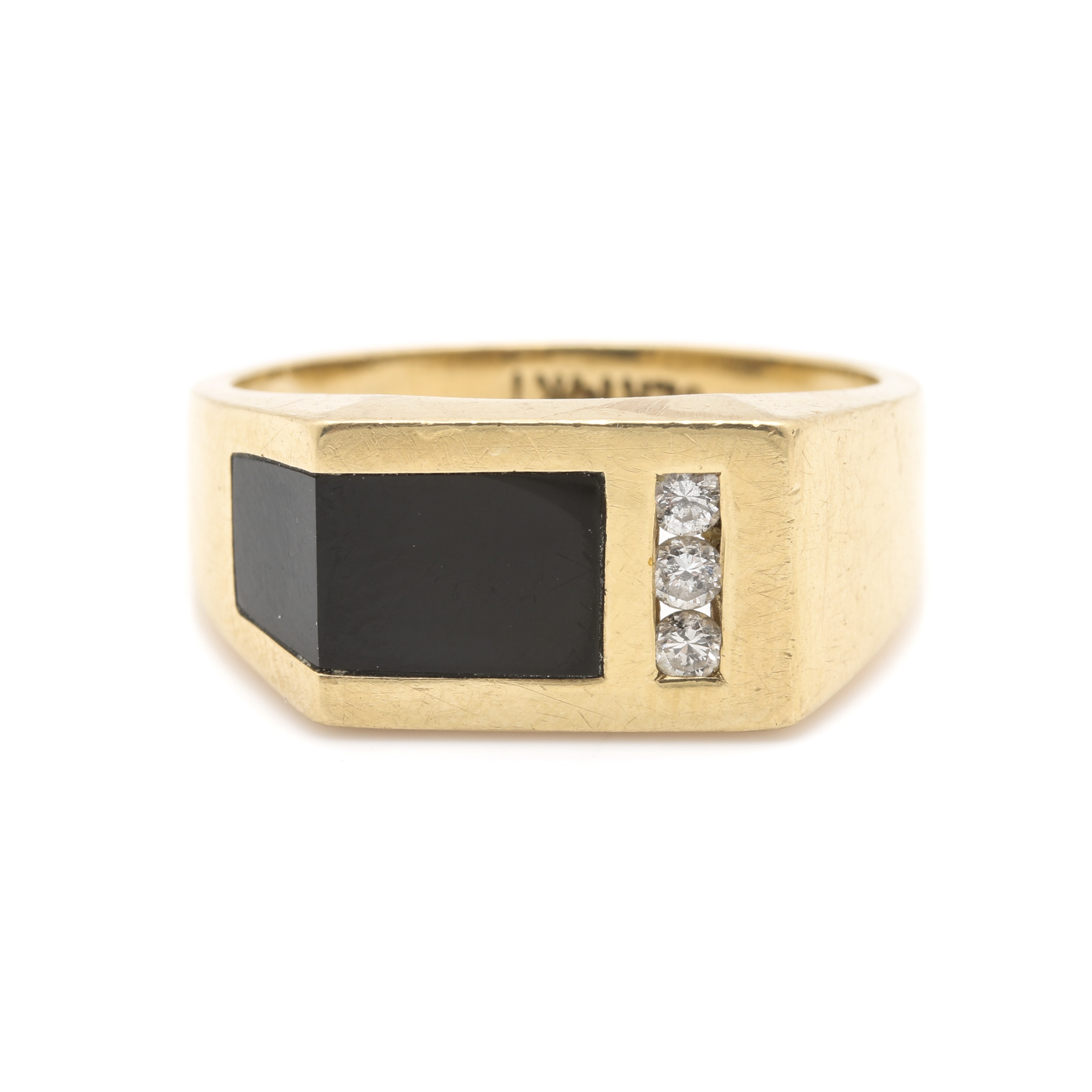 14K Yellow Gold Black Onyx and Diamond Ring