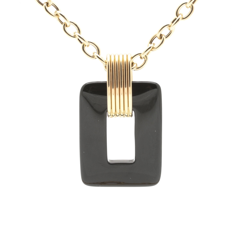 Milor 14K Yellow Gold Black Onyx Pendant Necklace