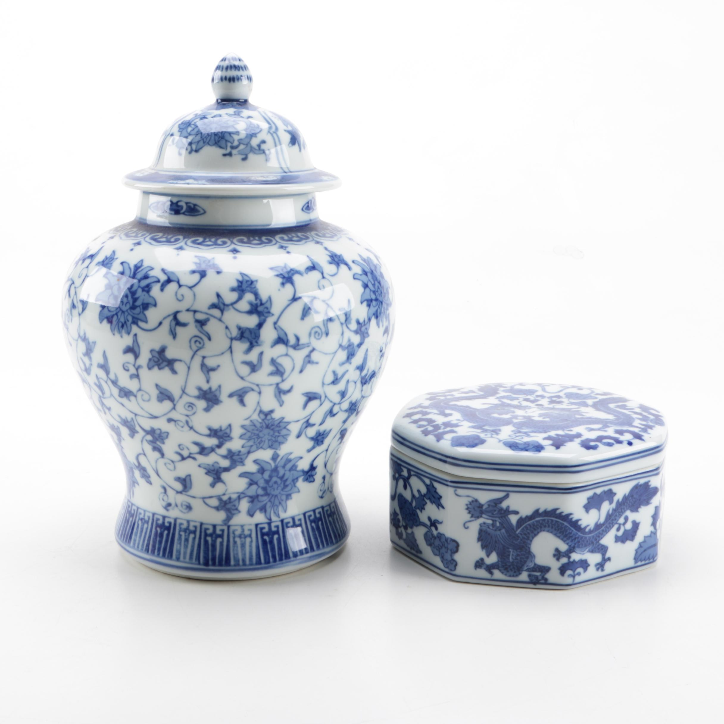 Blue and White Ceramic Ginger Jar and Trinket Box