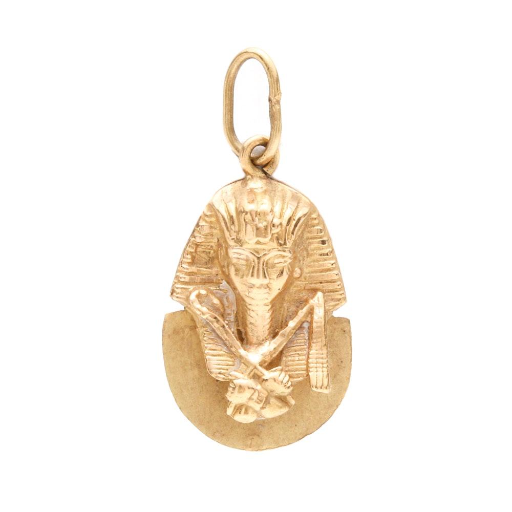 18K Yellow Gold Beveled Pharaoh Pendant