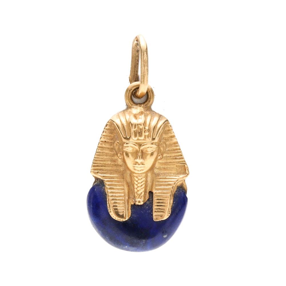 18K Yellow Gold Lapis Lazuli Pharaoh Pendant