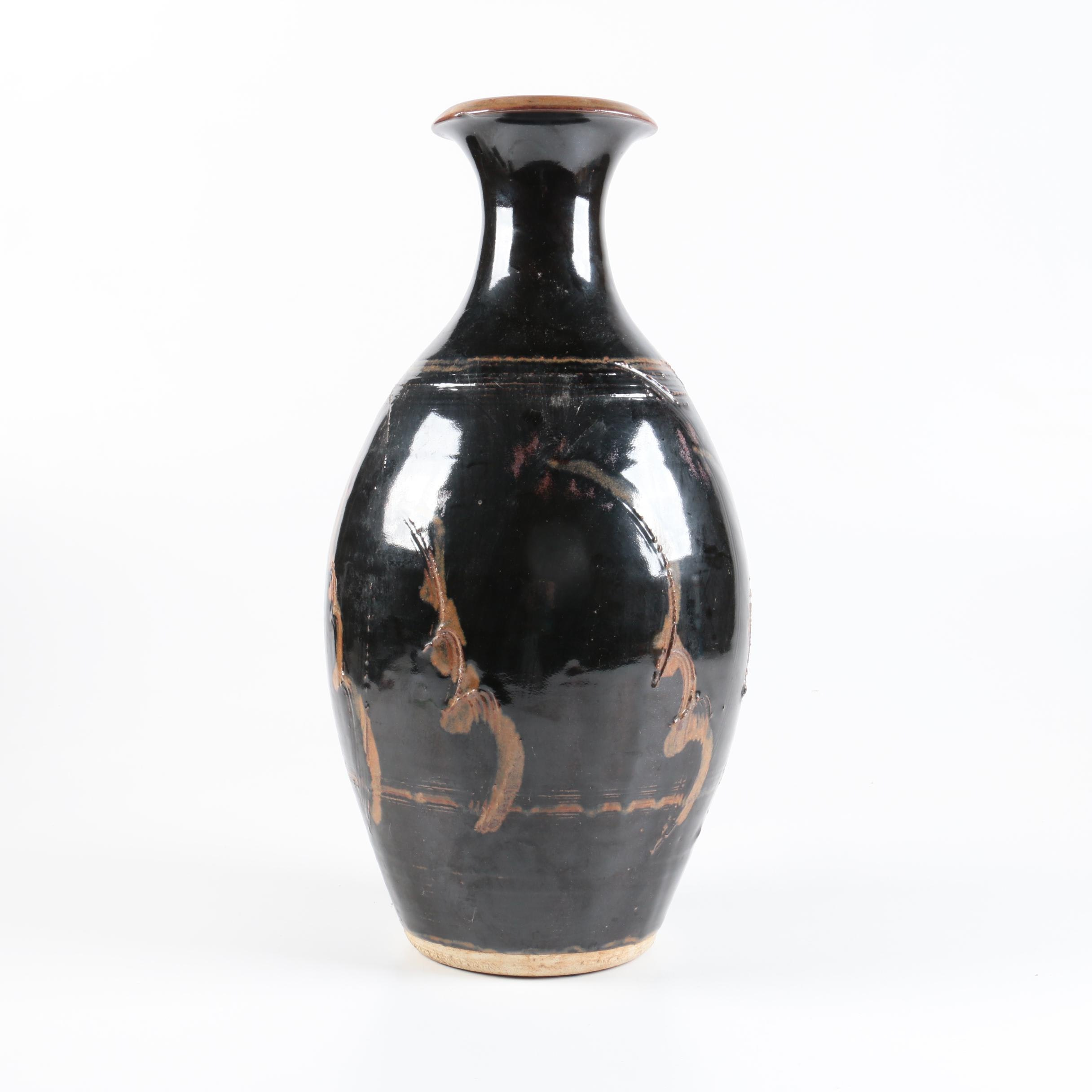 Hand Thrown Stoneware Vase with Tenmoku Glaze