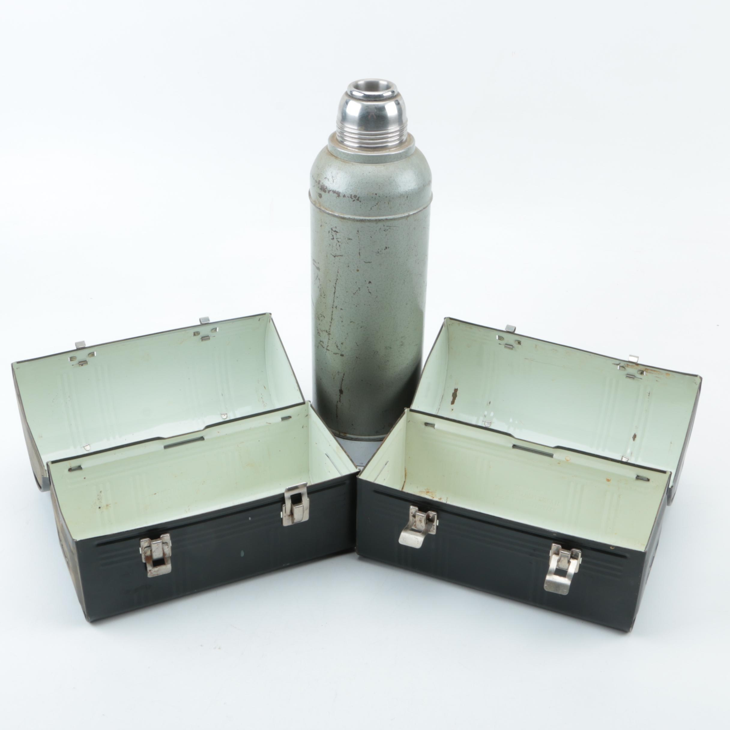 Vintage Stanley Thermos and Two Domed Lunch Boxes