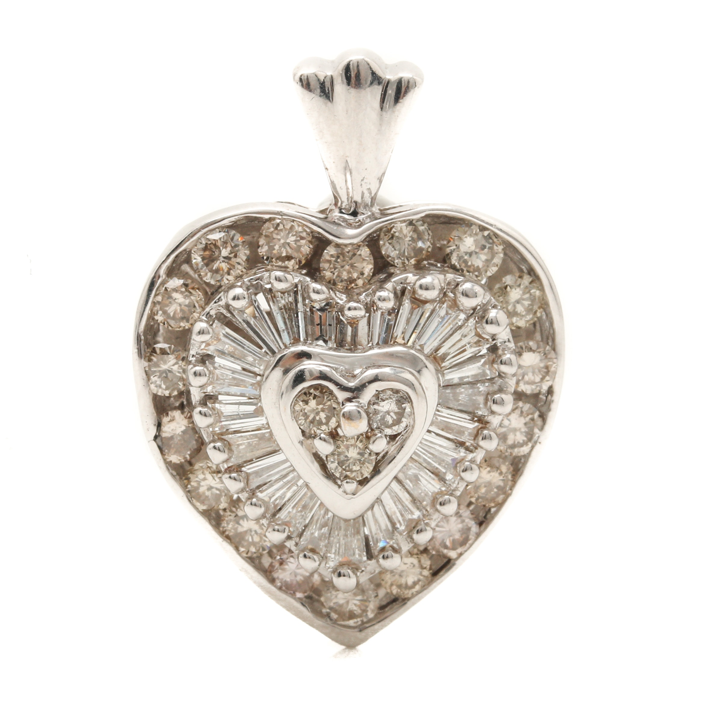 14K White Gold 2.00 CTW Diamond Heart Pendant