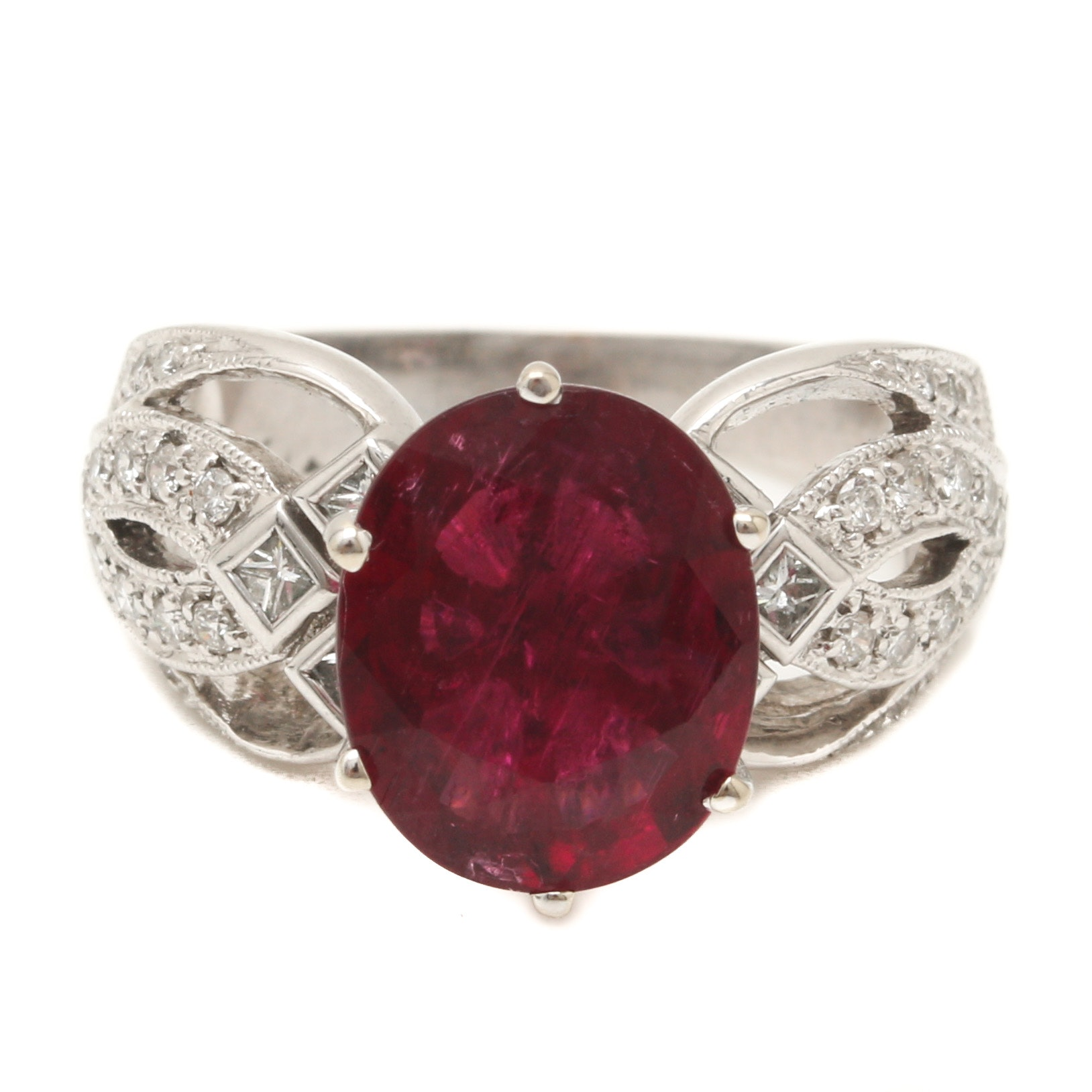 18K White Gold 2.77 CT Rubellite and Diamond Ring