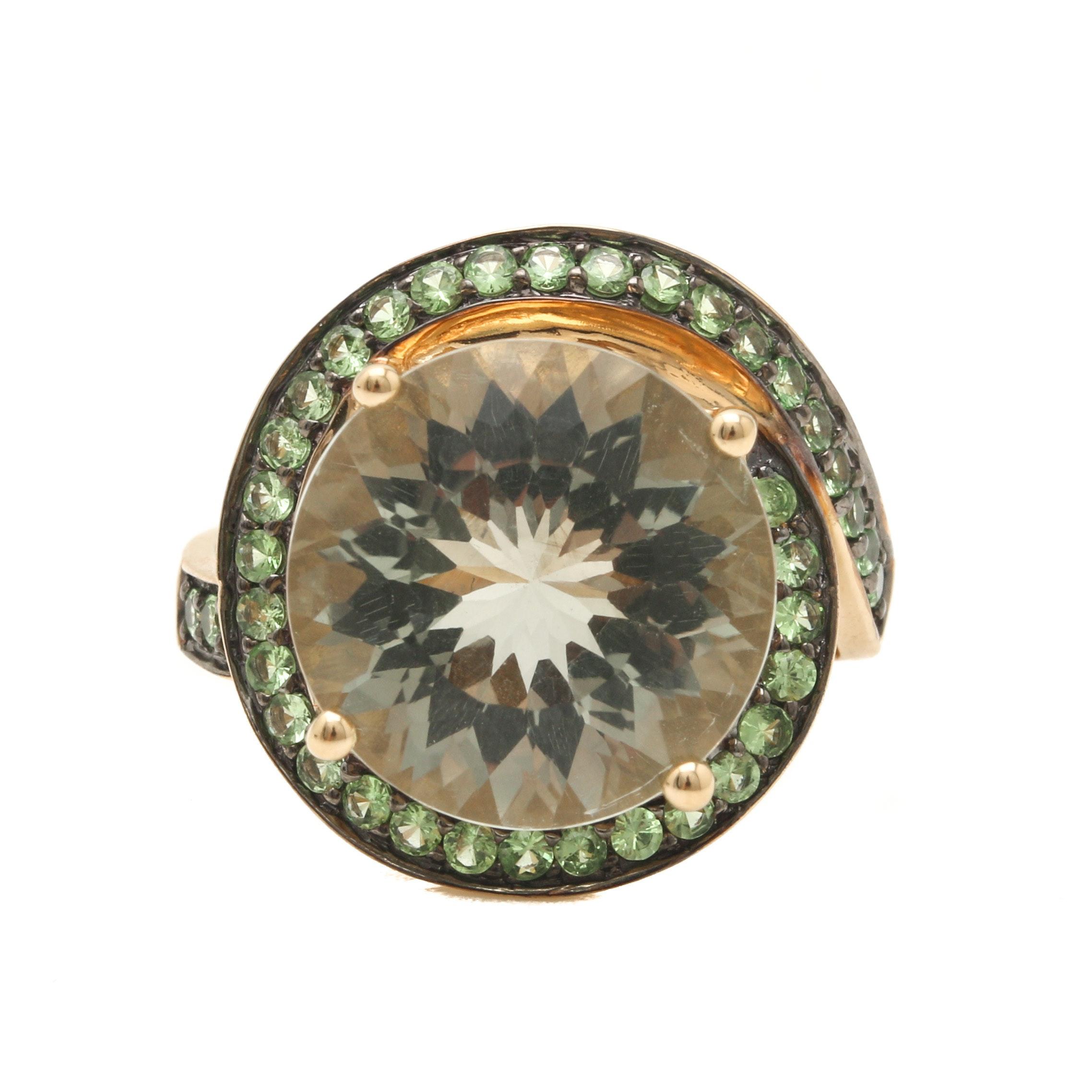 14K Yellow Gold 7.80 CT Praseolite and Demantoid Garnet Ring