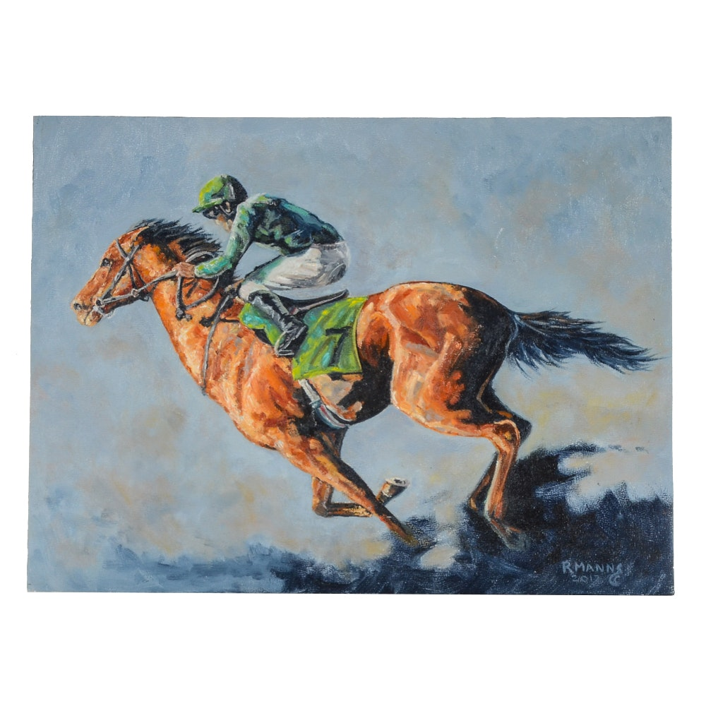 """Rebecca Manns Oil Painting on Board """"Racing for the Harvest"""""""