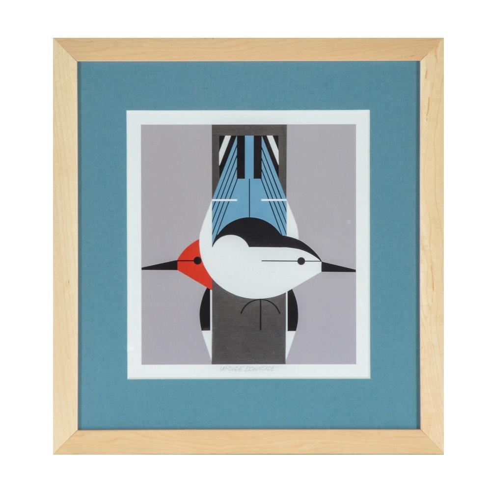 "Offset Lithograph Print after Charley Harper ""Upside Downside"""