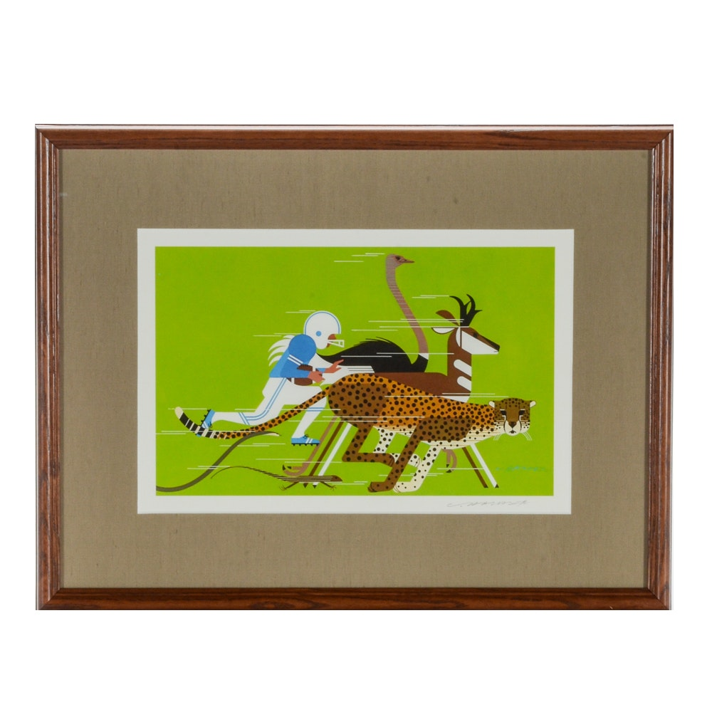 """Charley Harper Signed Offset Lithograph """"Dream Team"""""""