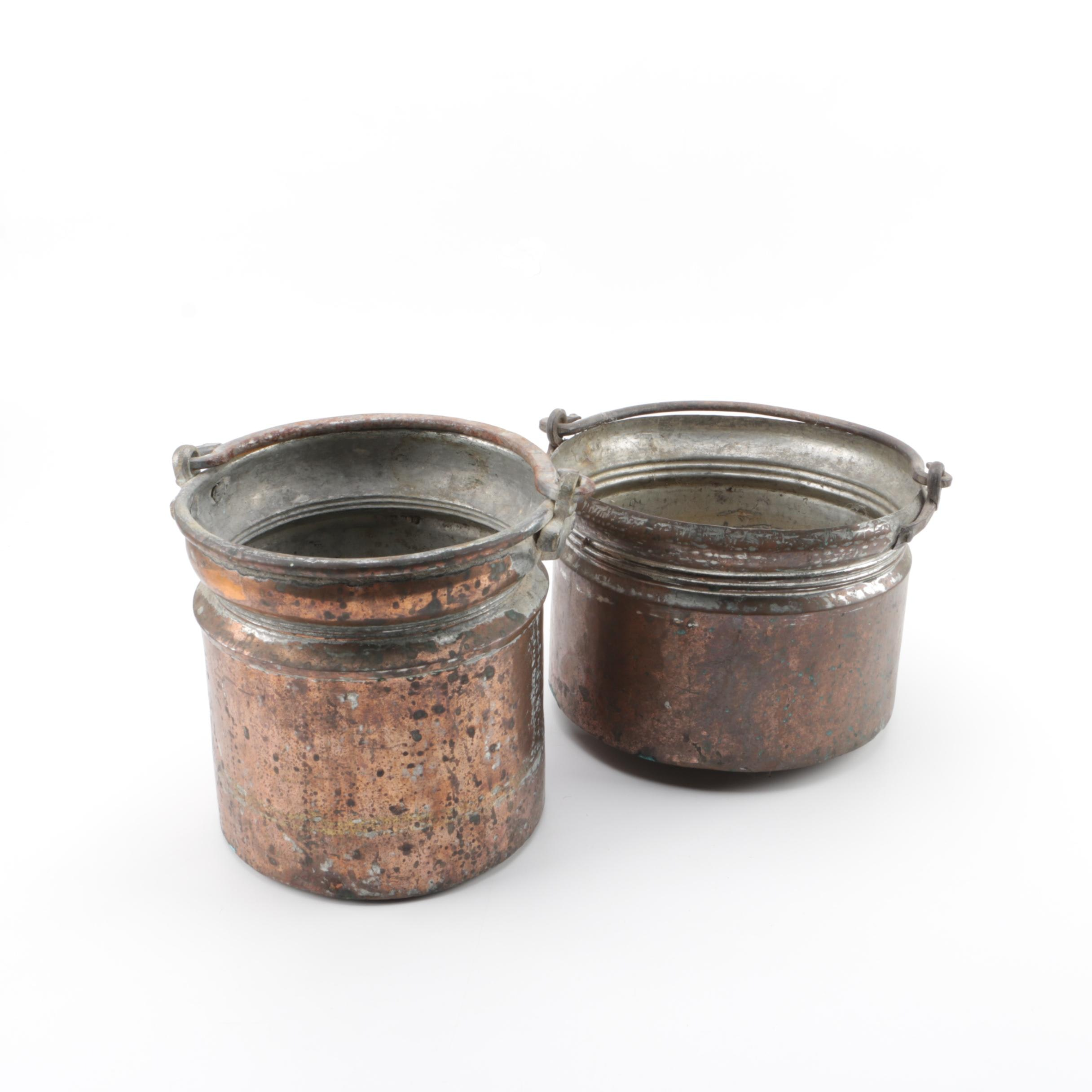 Vintage Tin Lined Copper Pails