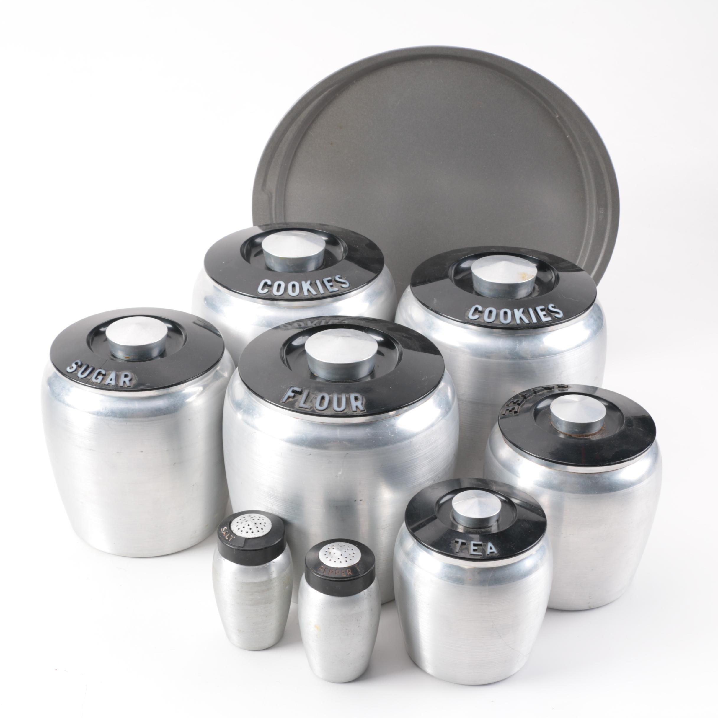 Collection of Vintage Kromex Kitchen Canisters