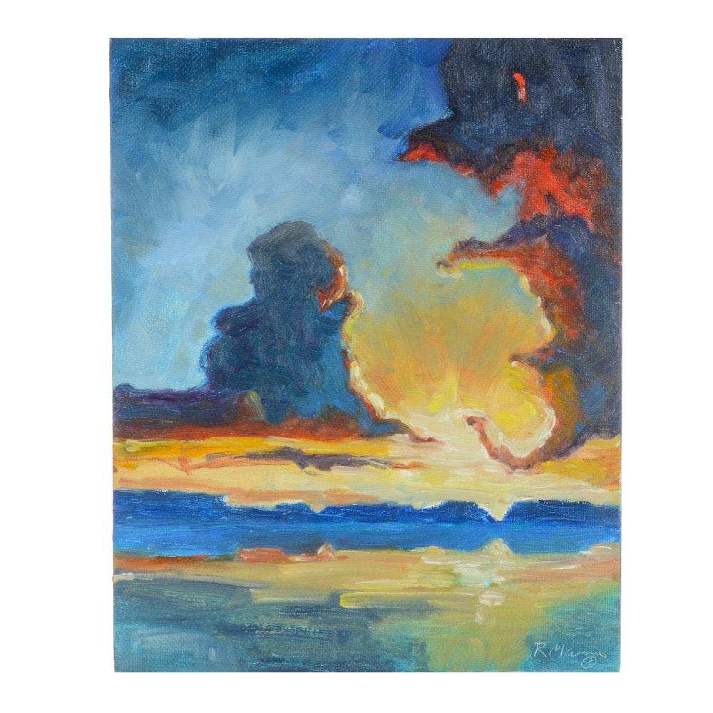 "Rebecca Manns Original Oil Painting ""Burst of Red"""