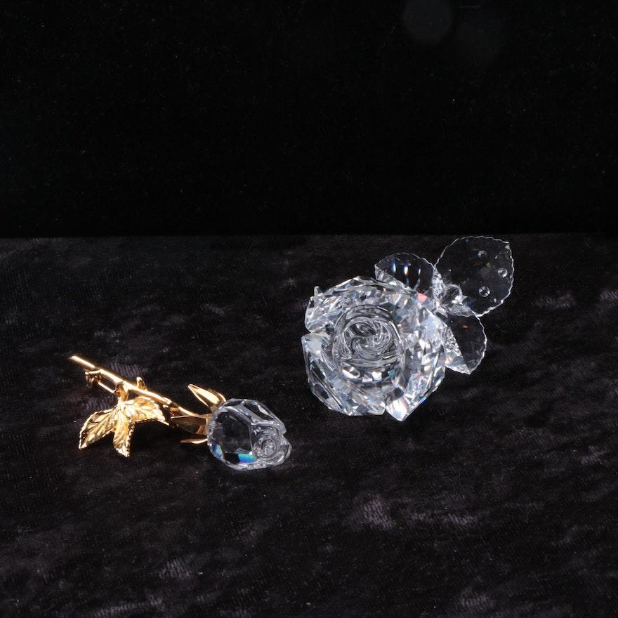 Swarovski Crystal Rose Brooch and Figurine   EBTH c16b24296b