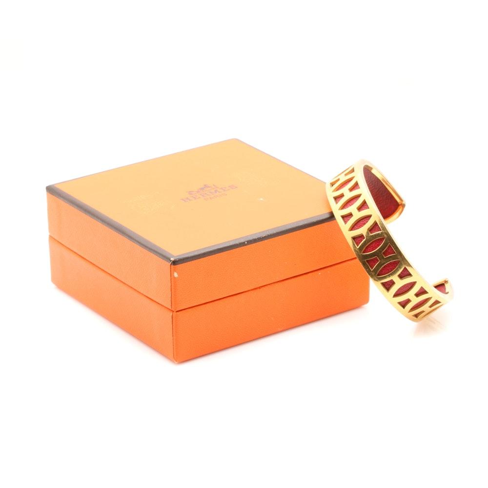 Vintage Hermès Gold Tone and Leather Cuff Bracelet